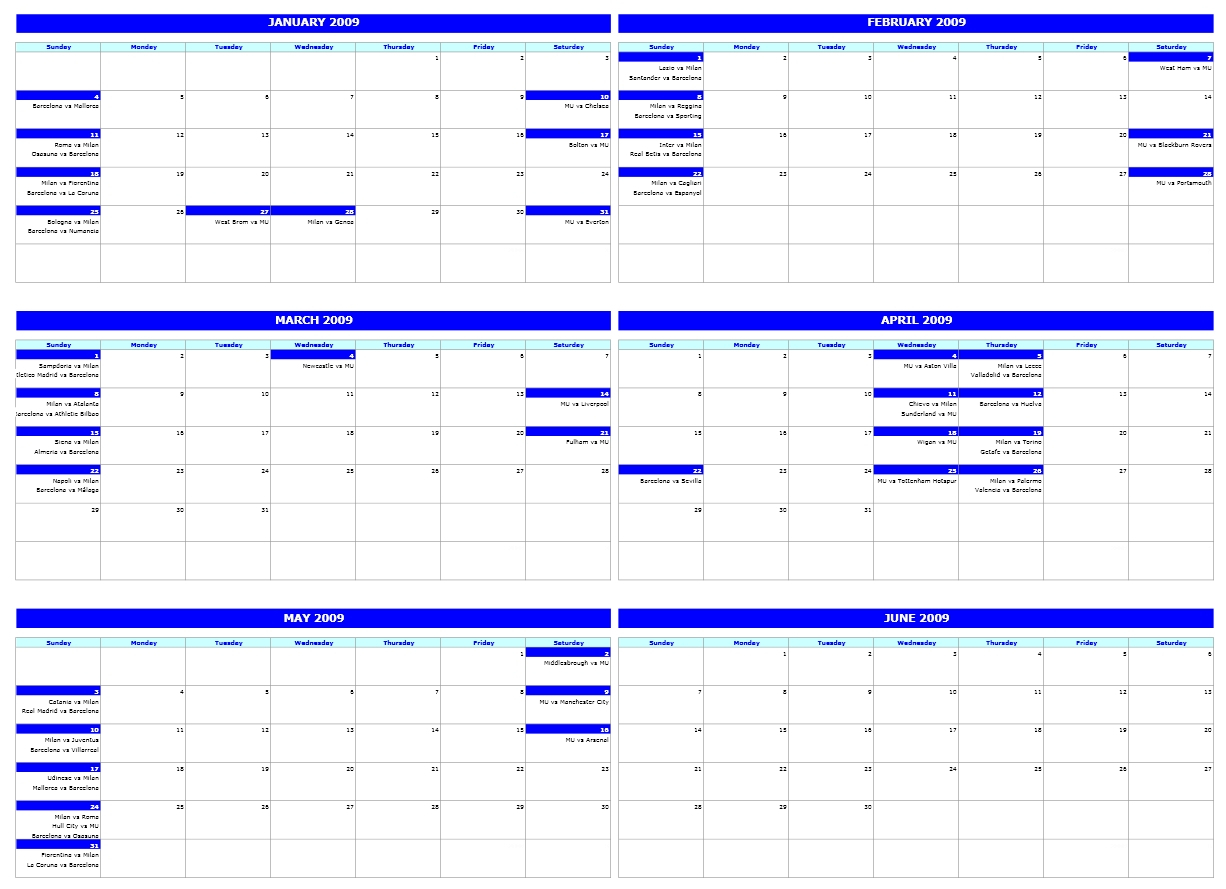 Six-Monthly Calendar regarding Monthly Calendar Excel Template Free