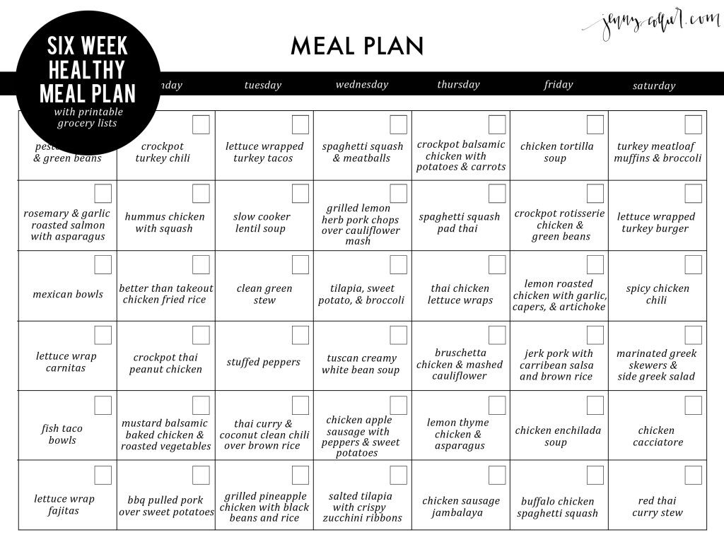 Six Week Healthy Meal Plan With Free Printable Grocery Lists (Jenny for 5 Week Lunch Menu Rotation Template