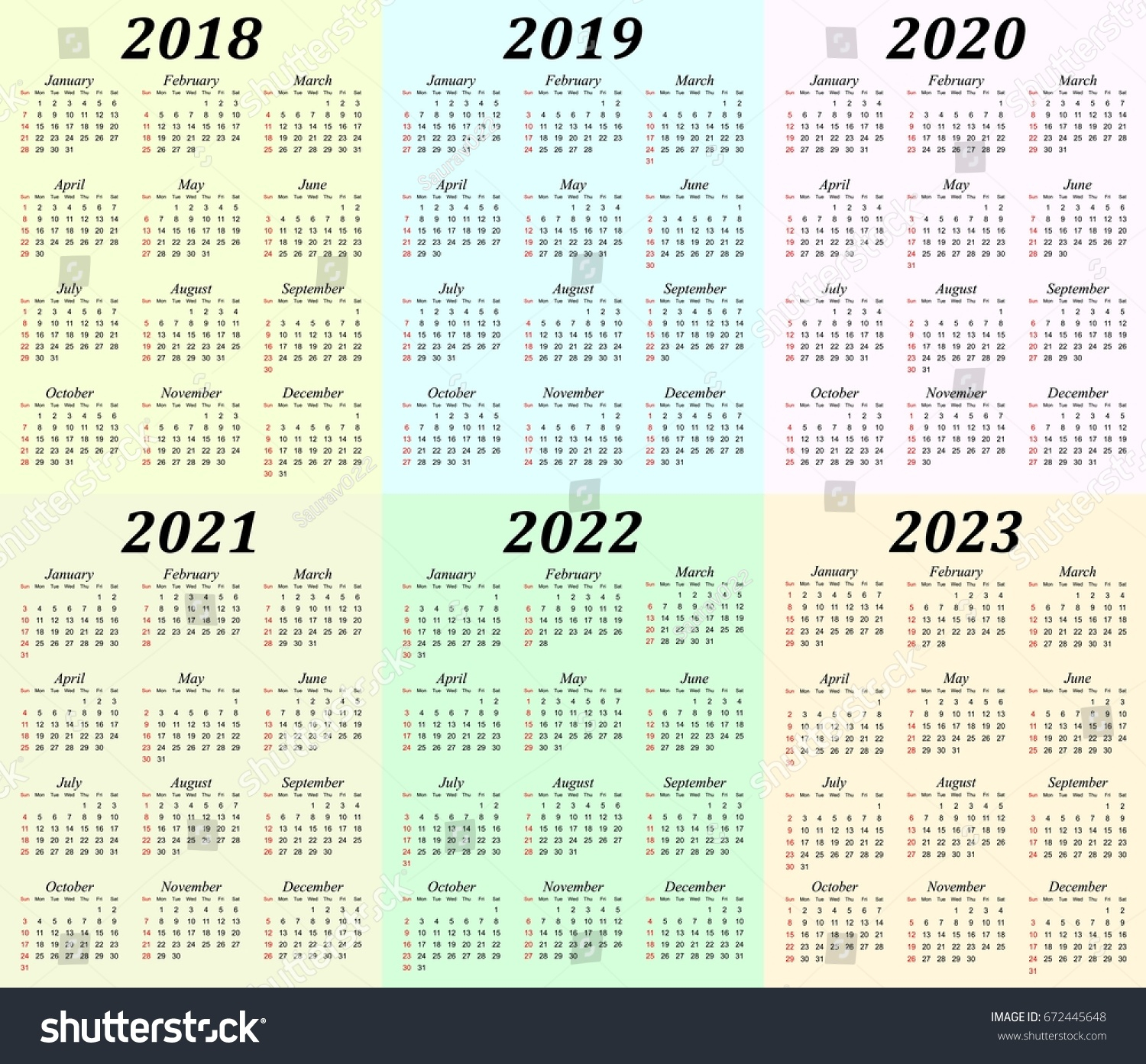 Six Year Calendar - 2018, 2019, 2020,… Stock Photo 672445648 intended for Print 2019 2020 2021 2022 2023 Calender