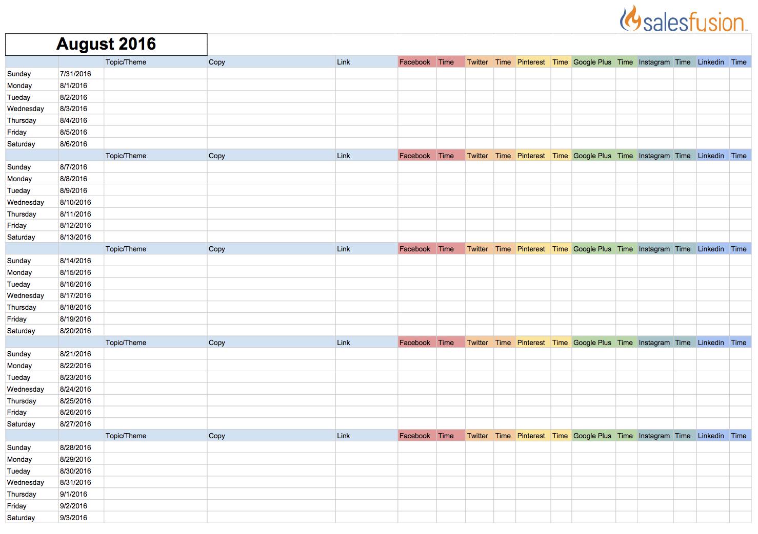 Social Media Content Calendar Template | Salesfusion with Social Media Calendar Template