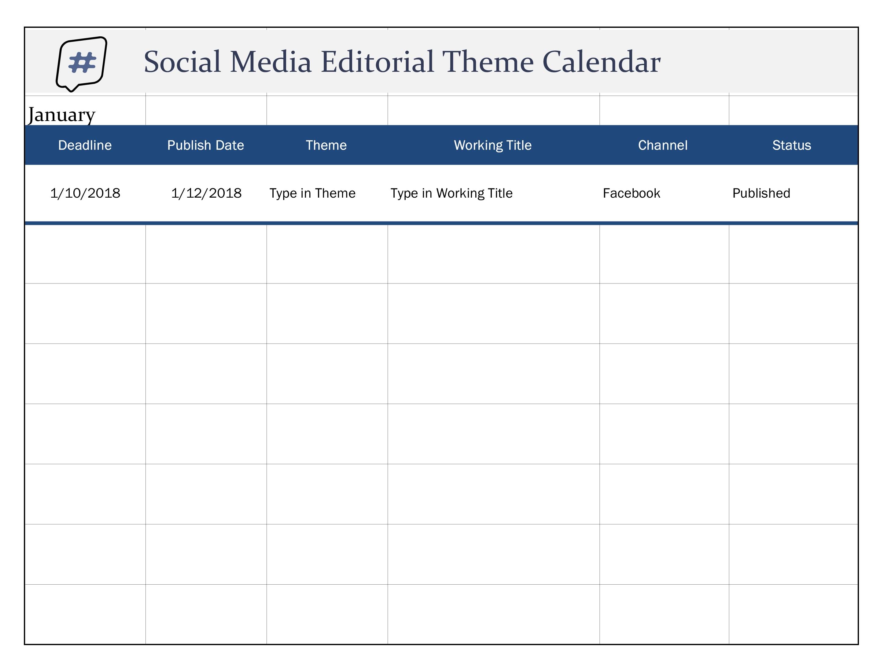 Social Media Editorial Theme Calendar with Social Media Calendar Template