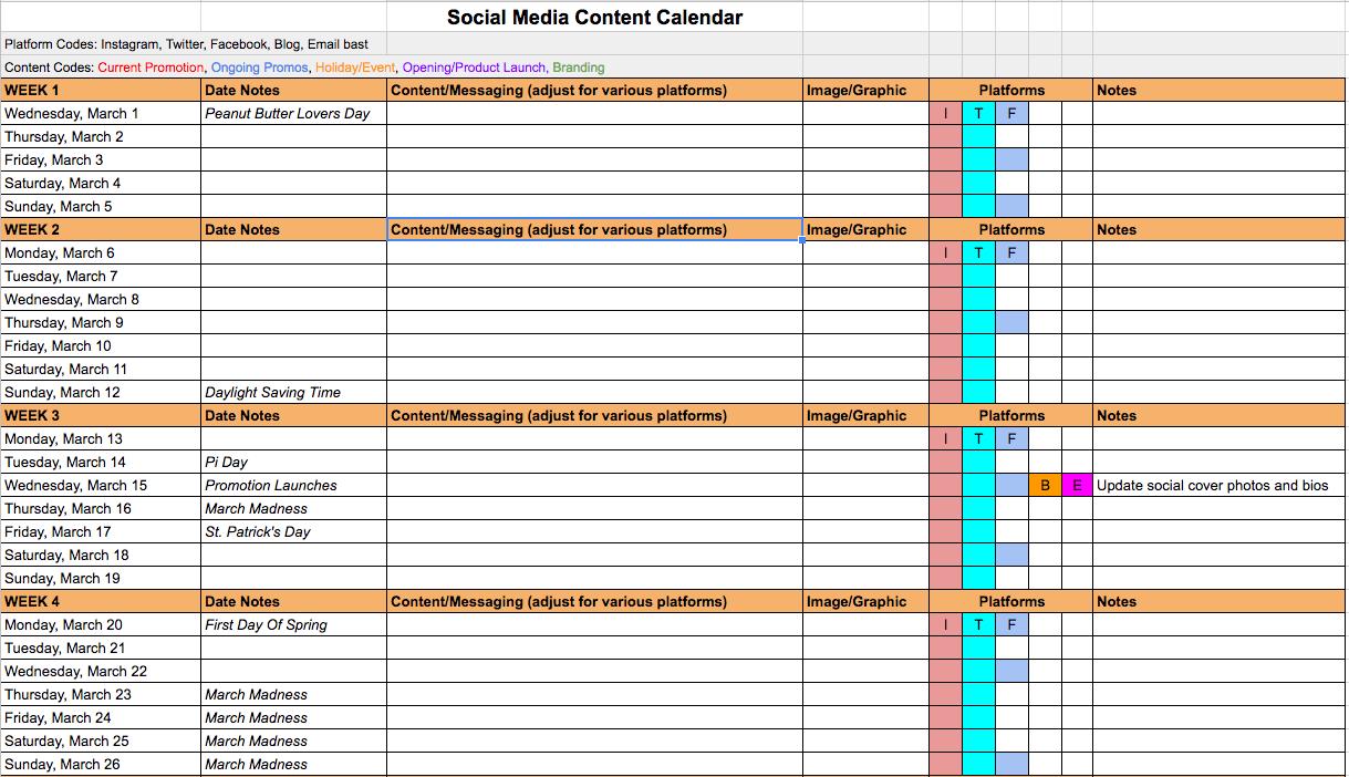 Social Mediaontentalendar Template Excel Free Media Content Calendar for Social Media Calendar Template