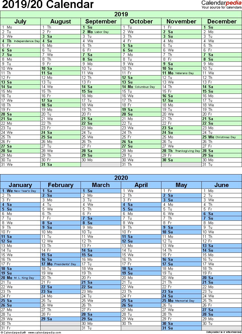 Split Year Calendar 2019/20 (July To June) - Excel Templates with regard to Split Calendar 2019 2020 South Australia
