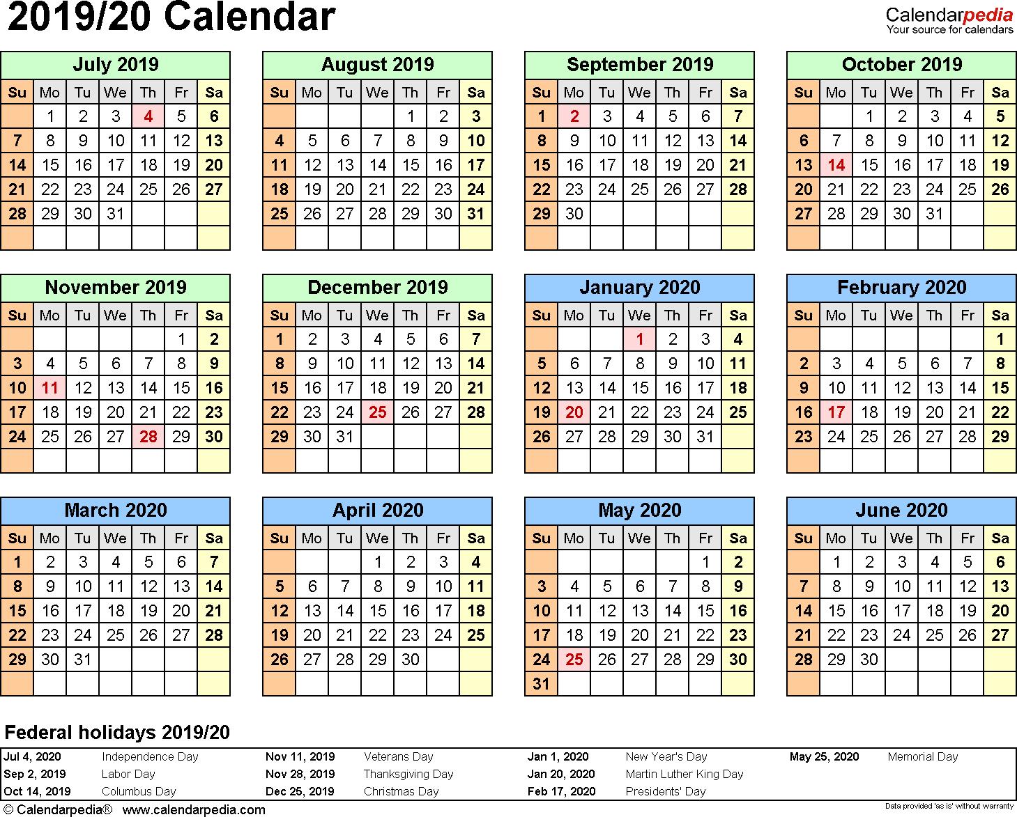 Split Year Calendar 2019/20 (July To June) - Pdf Templates in Printable Calendar June 2019 To June 2020