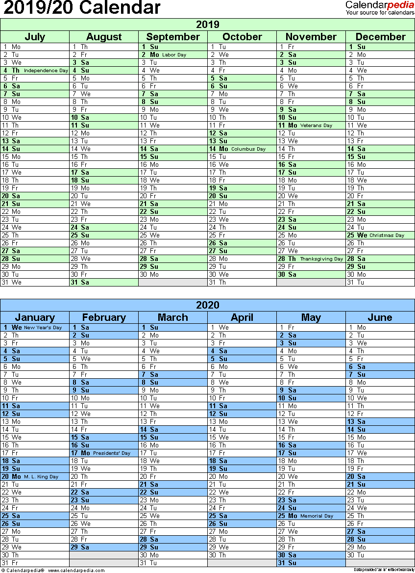 Split Year Calendar 2019/20 (July To June) - Pdf Templates inside Printable Yearly Calendar July 2019 - June 2020