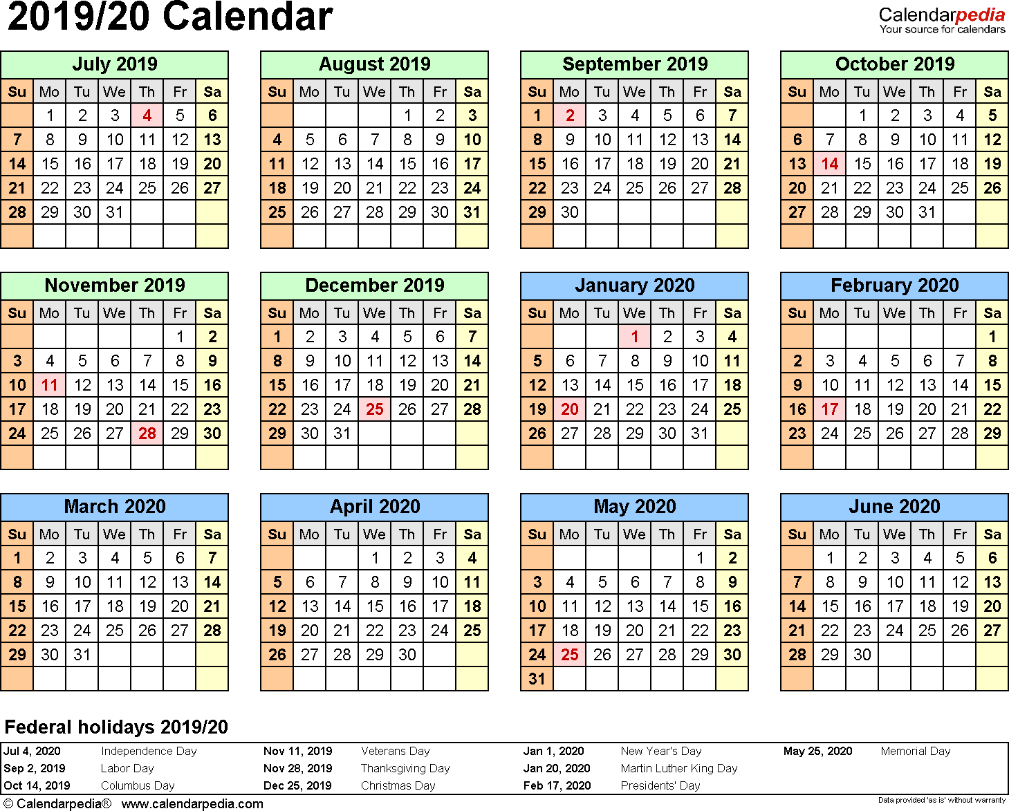 Split Year Calendar 2019/20 (July To June) - Word Templates throughout 1 Page Calendar 2019-2020 With Major Holidays