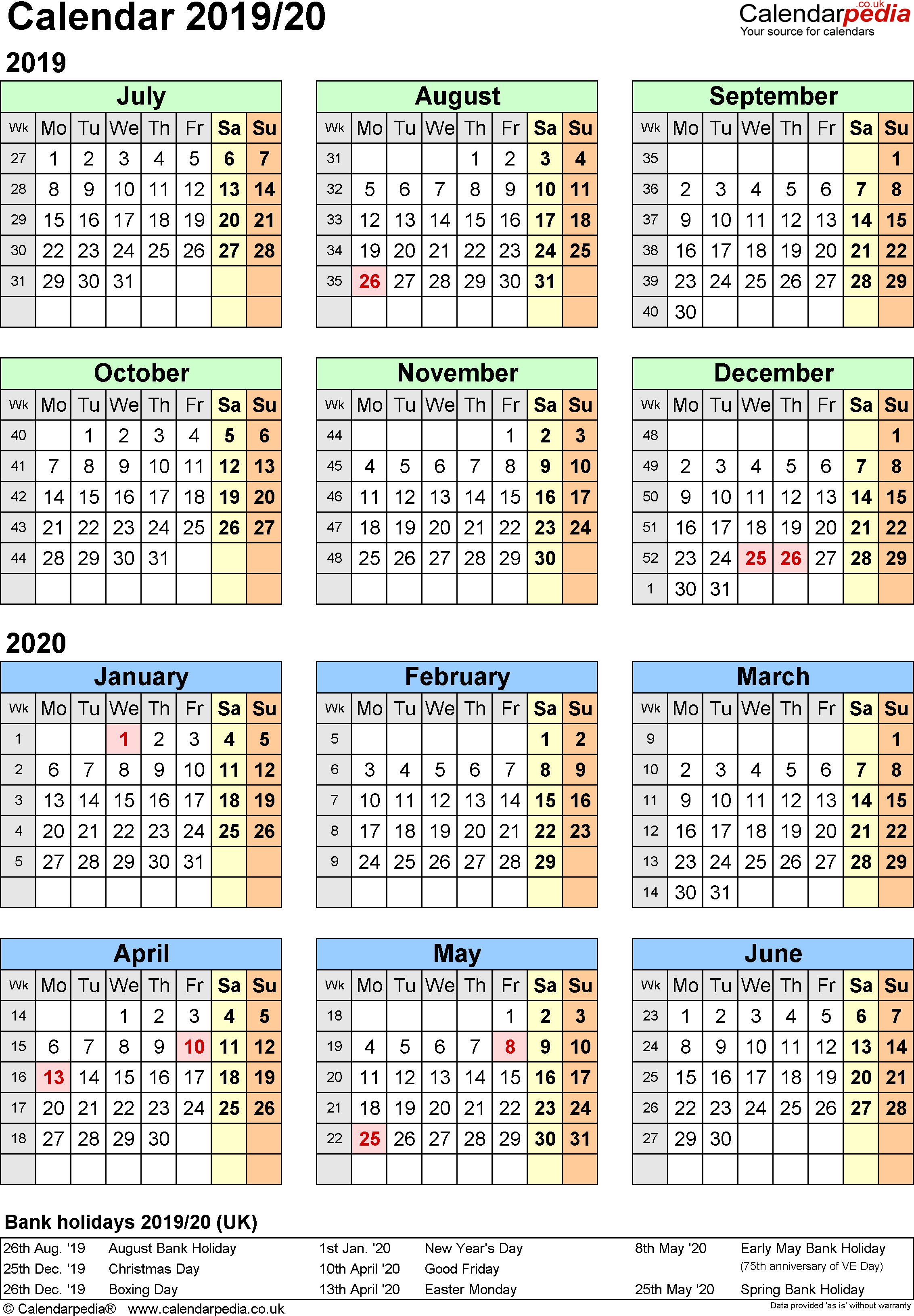Split Year Calendars 2019/20 (July To June) For Excel (Uk Version) pertaining to Portriat Style Free Printable Calendar 2019-2020