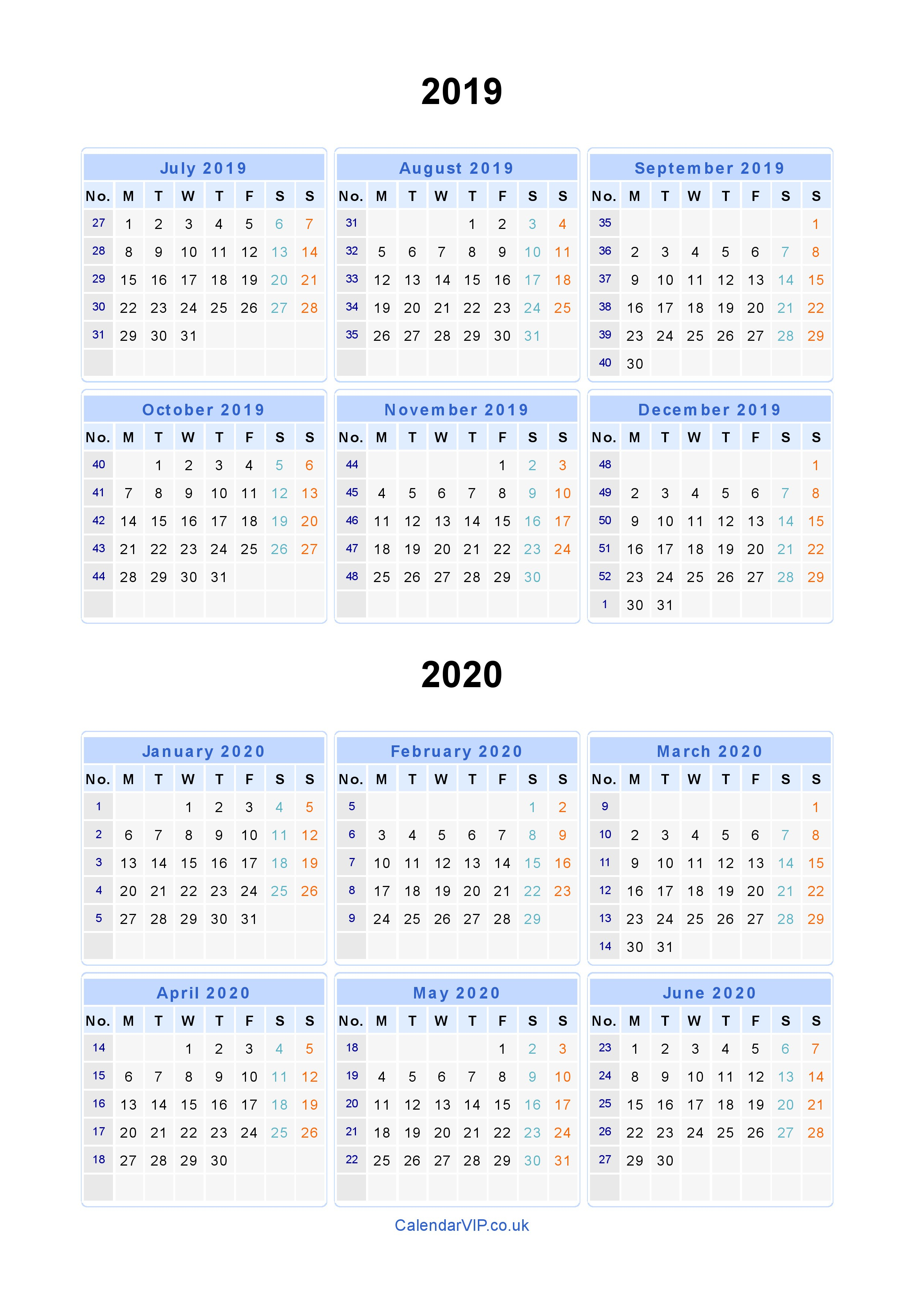 Split Year Calendars 2019 2020 - Calendar From July 2019 To June 2020 pertaining to Printable Calendar 2019 2020 Monday To Sunday