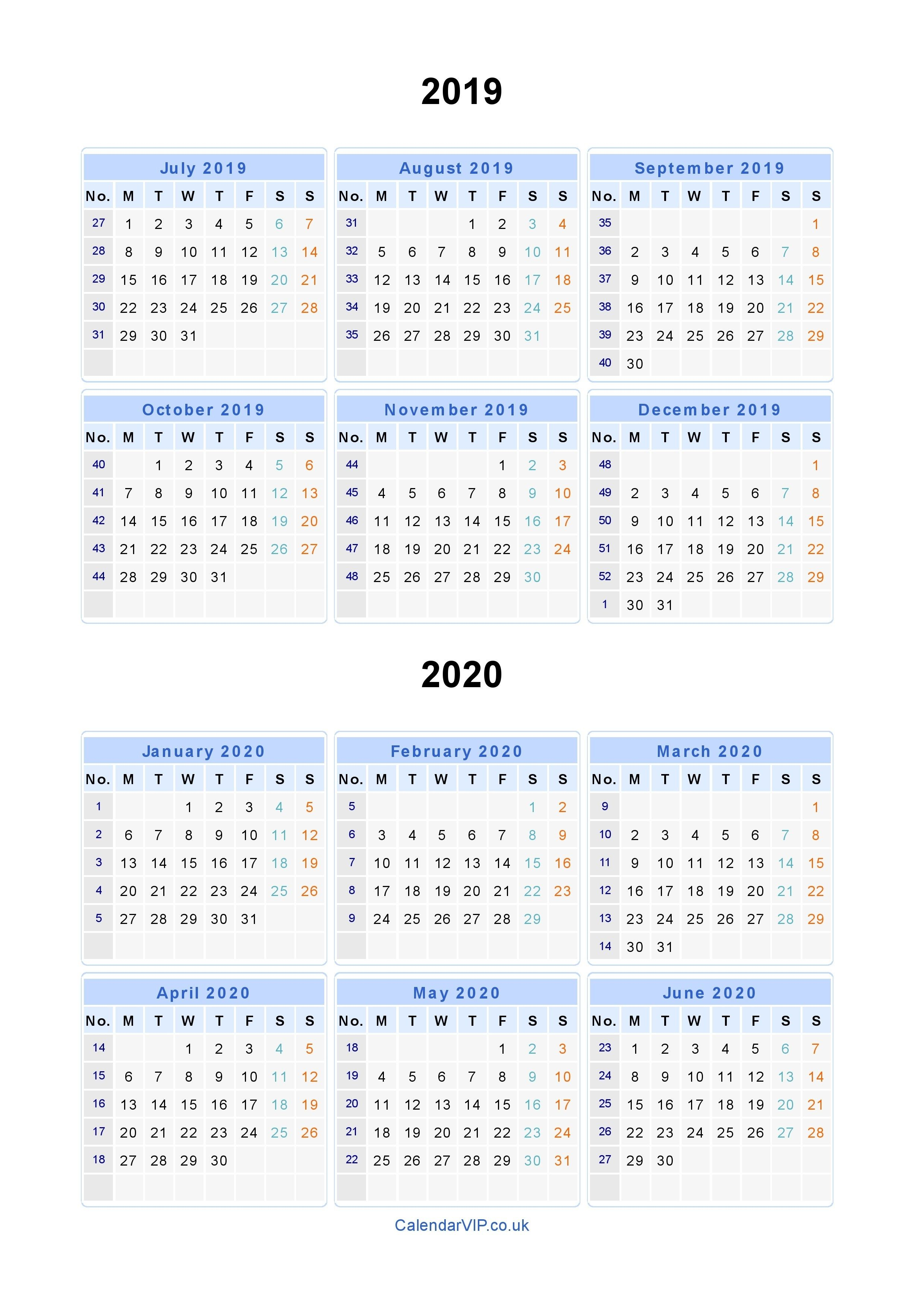 Split Year Calendars 2019 2020 - Calendar From July 2019 To June in Calendar For Rest Of 2019 And 2020