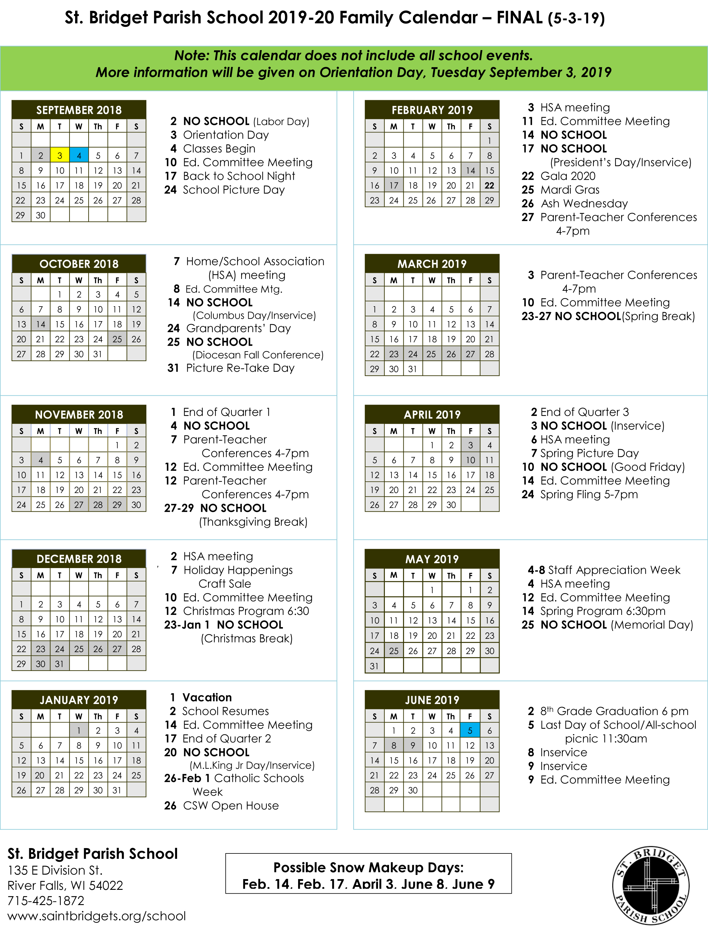 St. Bridget School Calendar - Saint Bridget Catholic Community with regard to Catholic Liturgical Calendar 2020 Pdf
