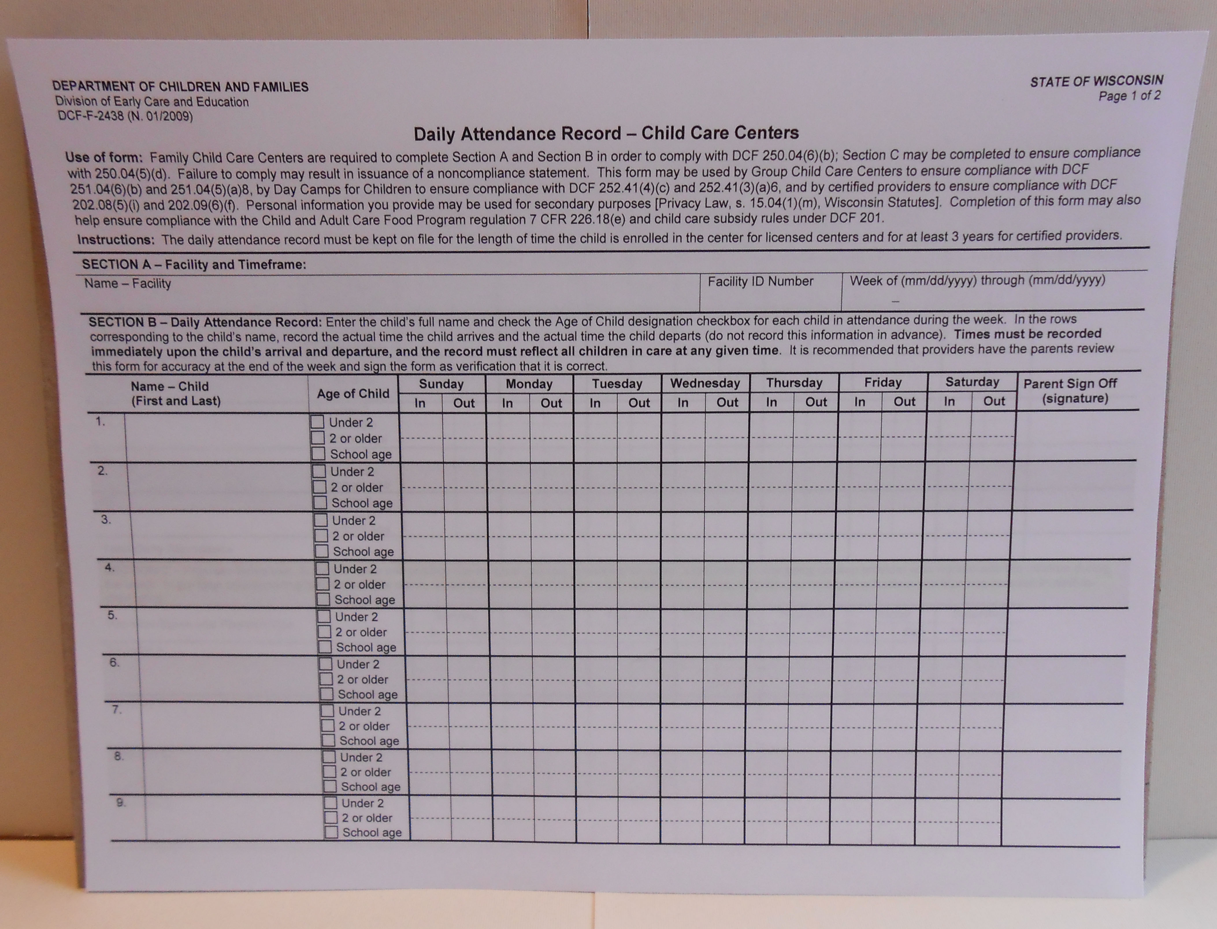 Start Your Own Regulated Program | Supporting Families Together throughout Day Care Attendance Sheet Template