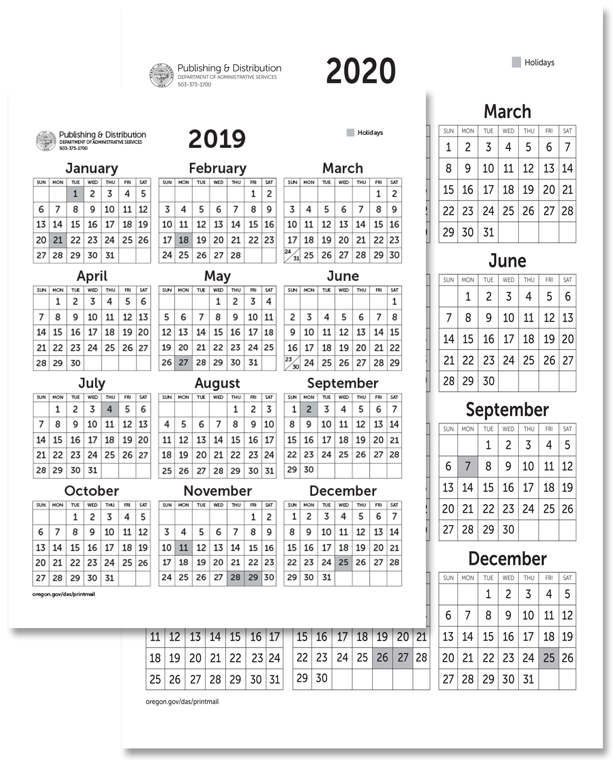 State Of Oregon: Printing, Mailing And Distribution Services - Calendars intended for 2020 Calendar 8.5 X 11