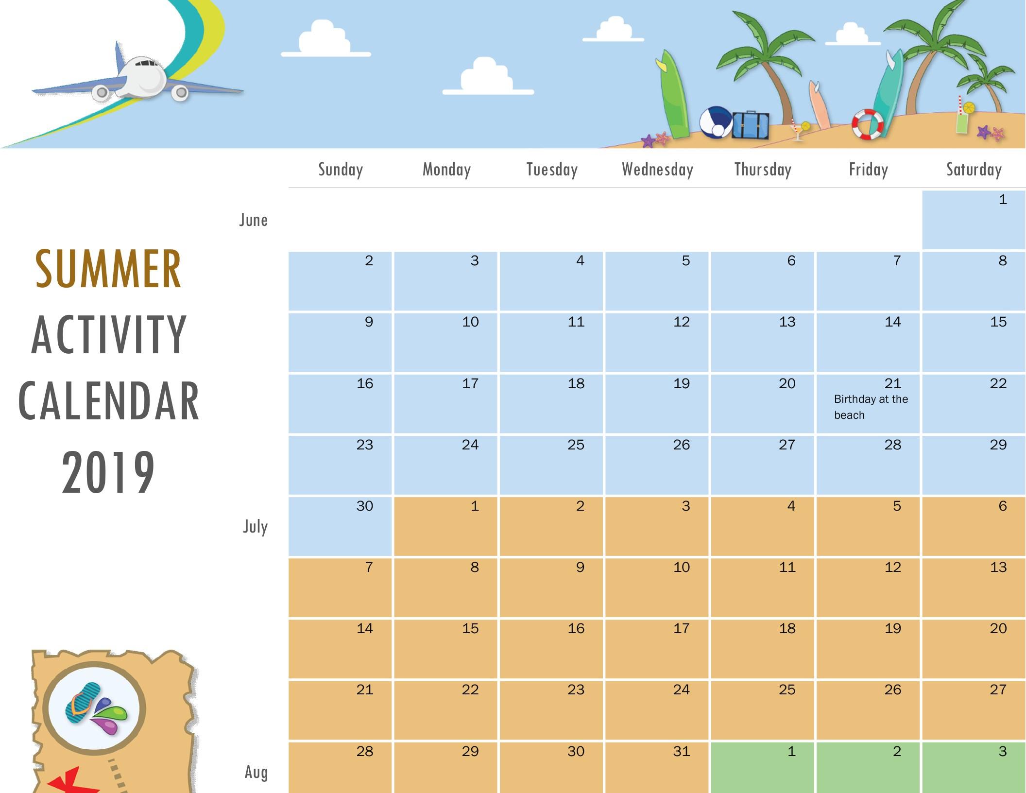 Summer Activity Calendar throughout Summer Activity Calendar Template