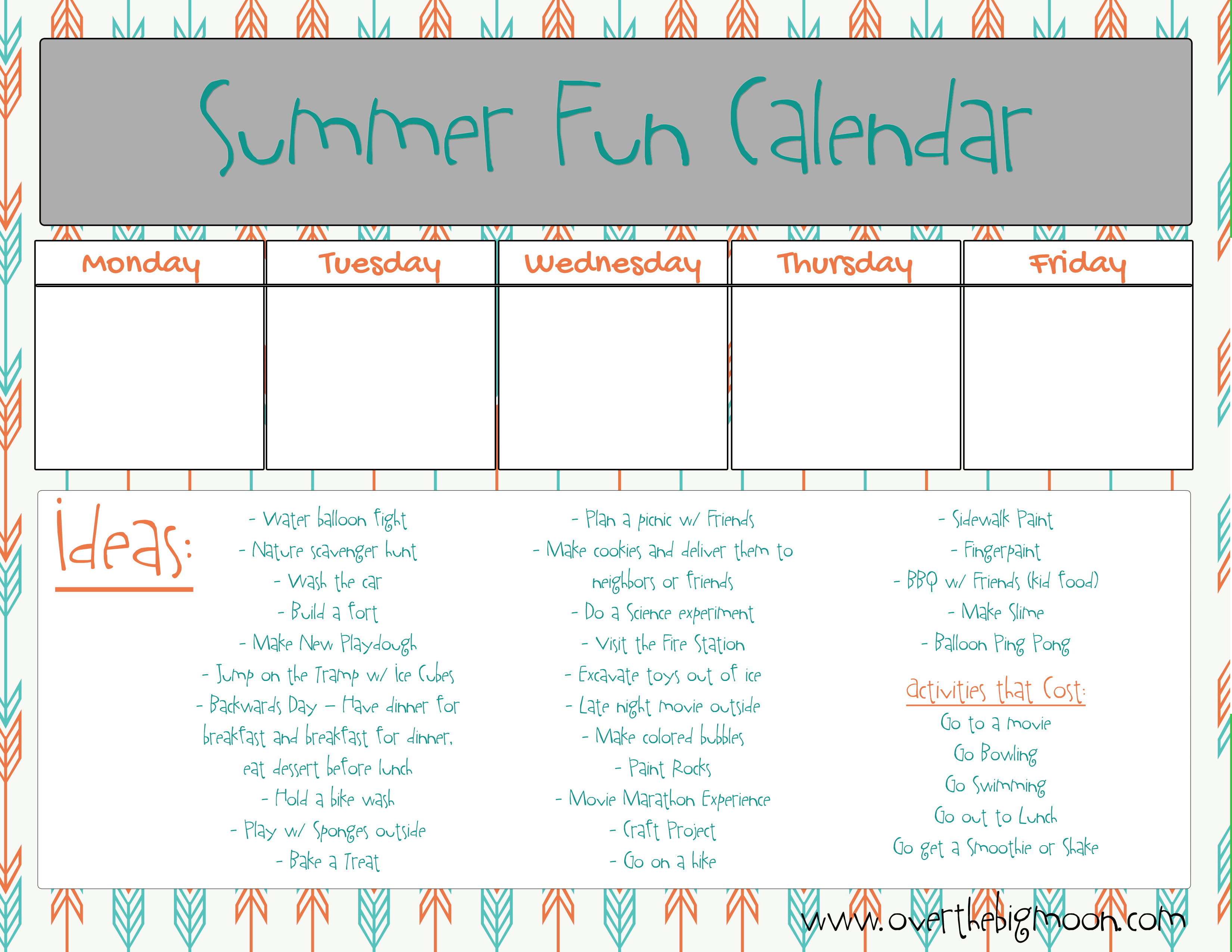 Summer Activity Printable intended for Summer Activity Calendar Template