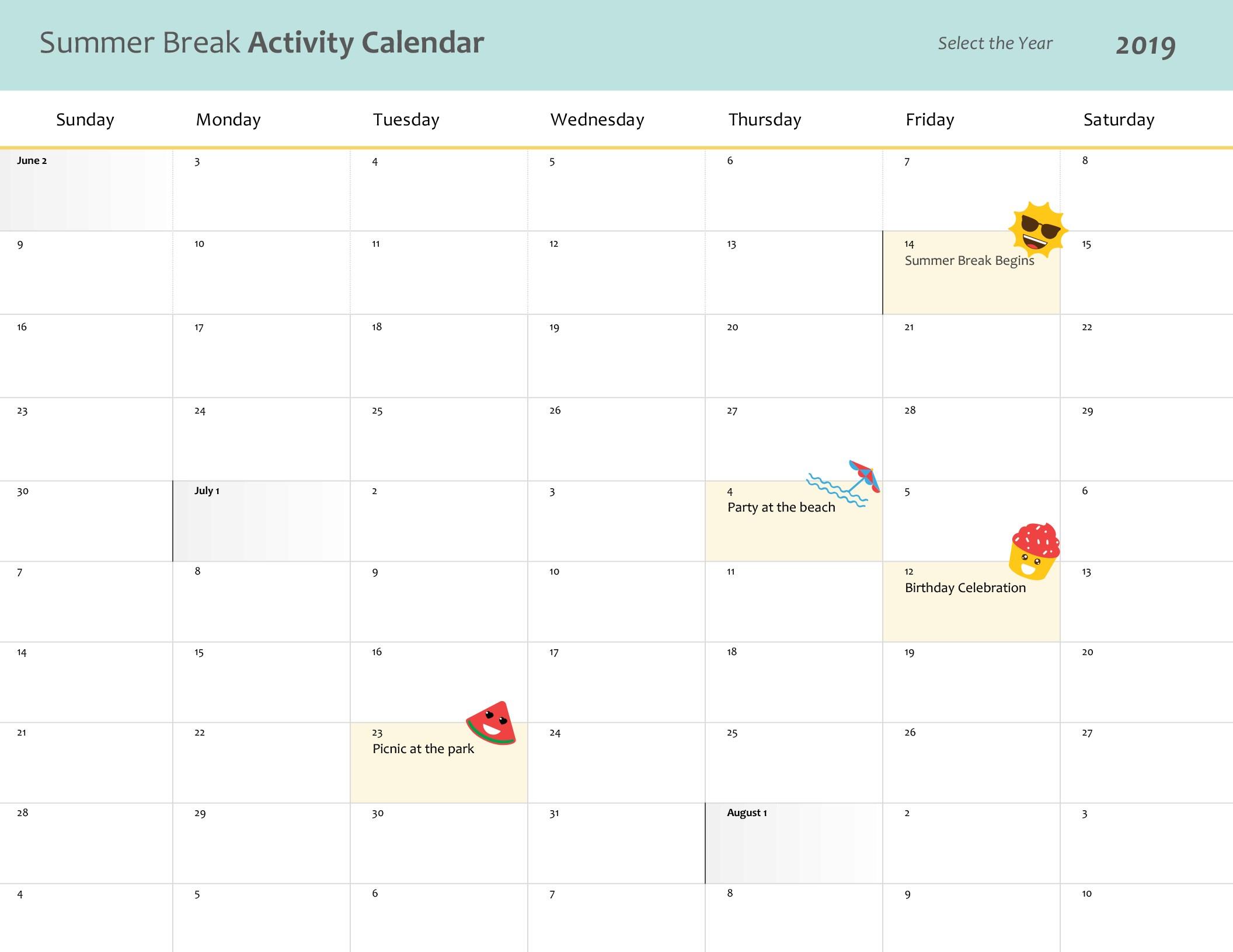 Summer Break Calendar regarding Summer Activity Calendar Template