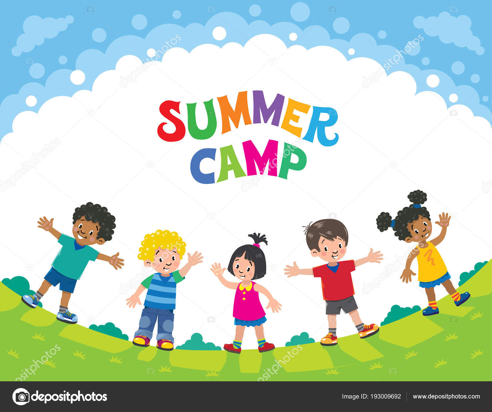 Summer Camp. Children. Design Template With Logo — Stock Vector with Free Download Blank Summer Camp Application