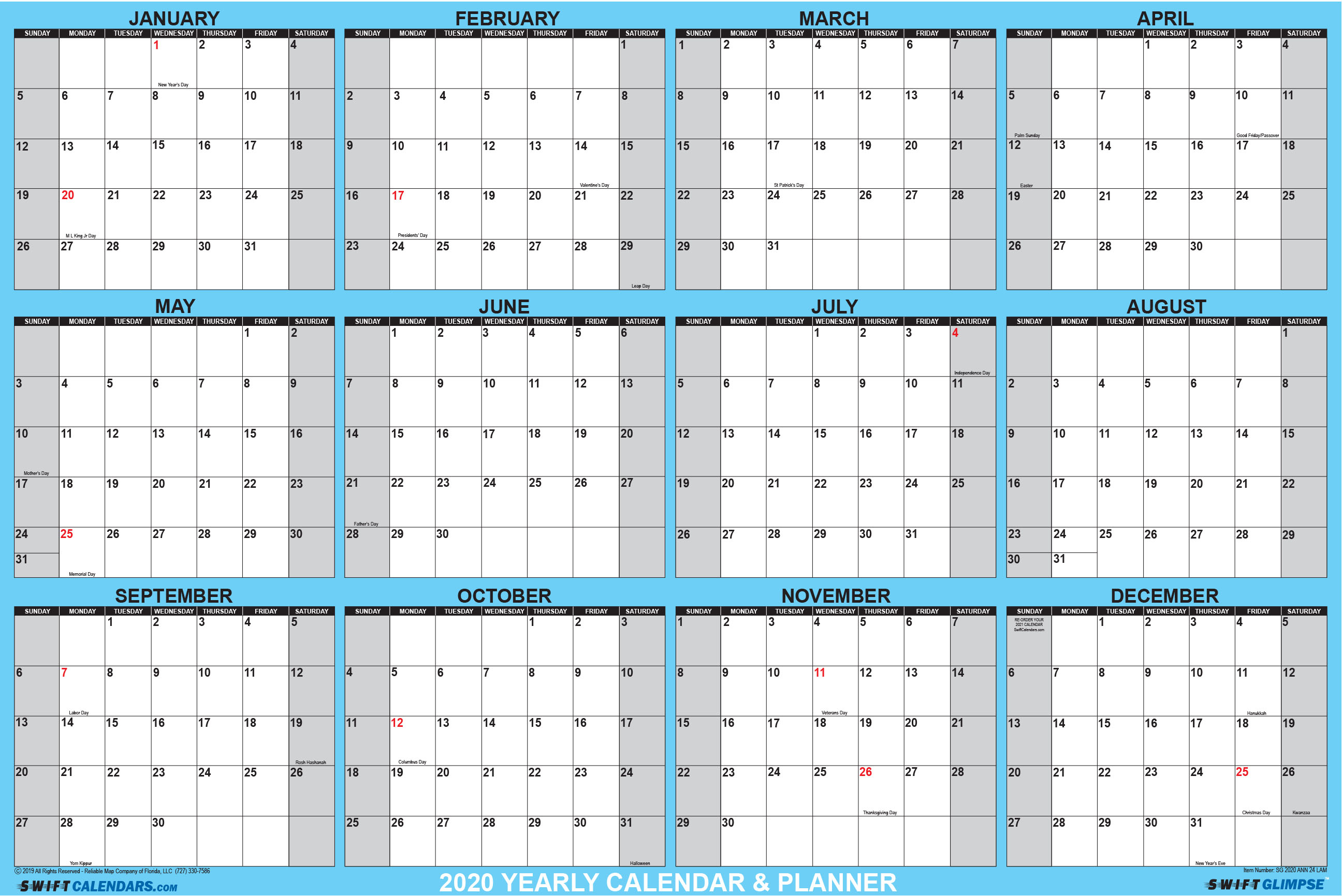 Swiftglimpse 2020 Dry Erase Wall Calendar Planner intended for Year Calendar 2020 With Space To Write