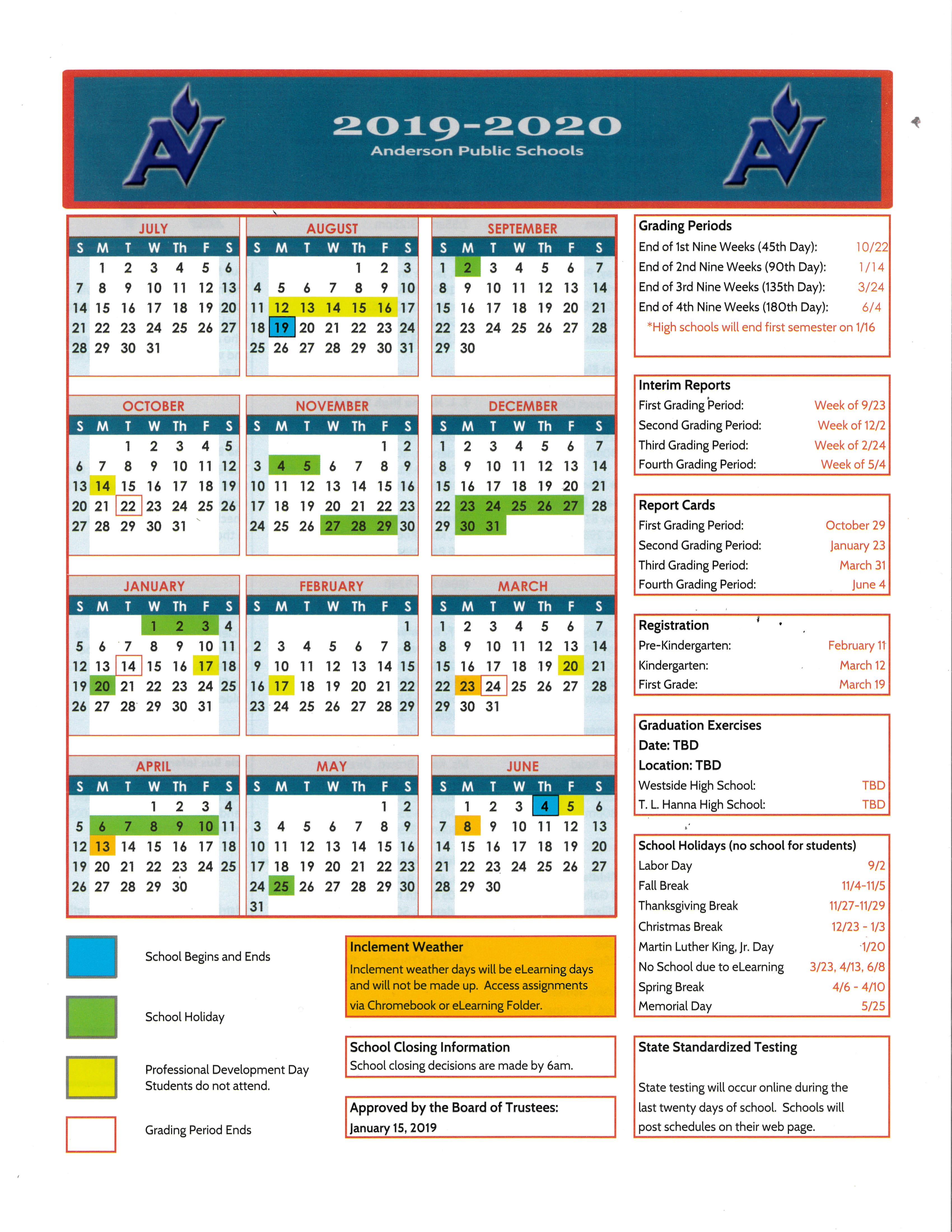 T. L. Hanna High School / Homepage within Stephen F Austin 2019 2020 Calendar