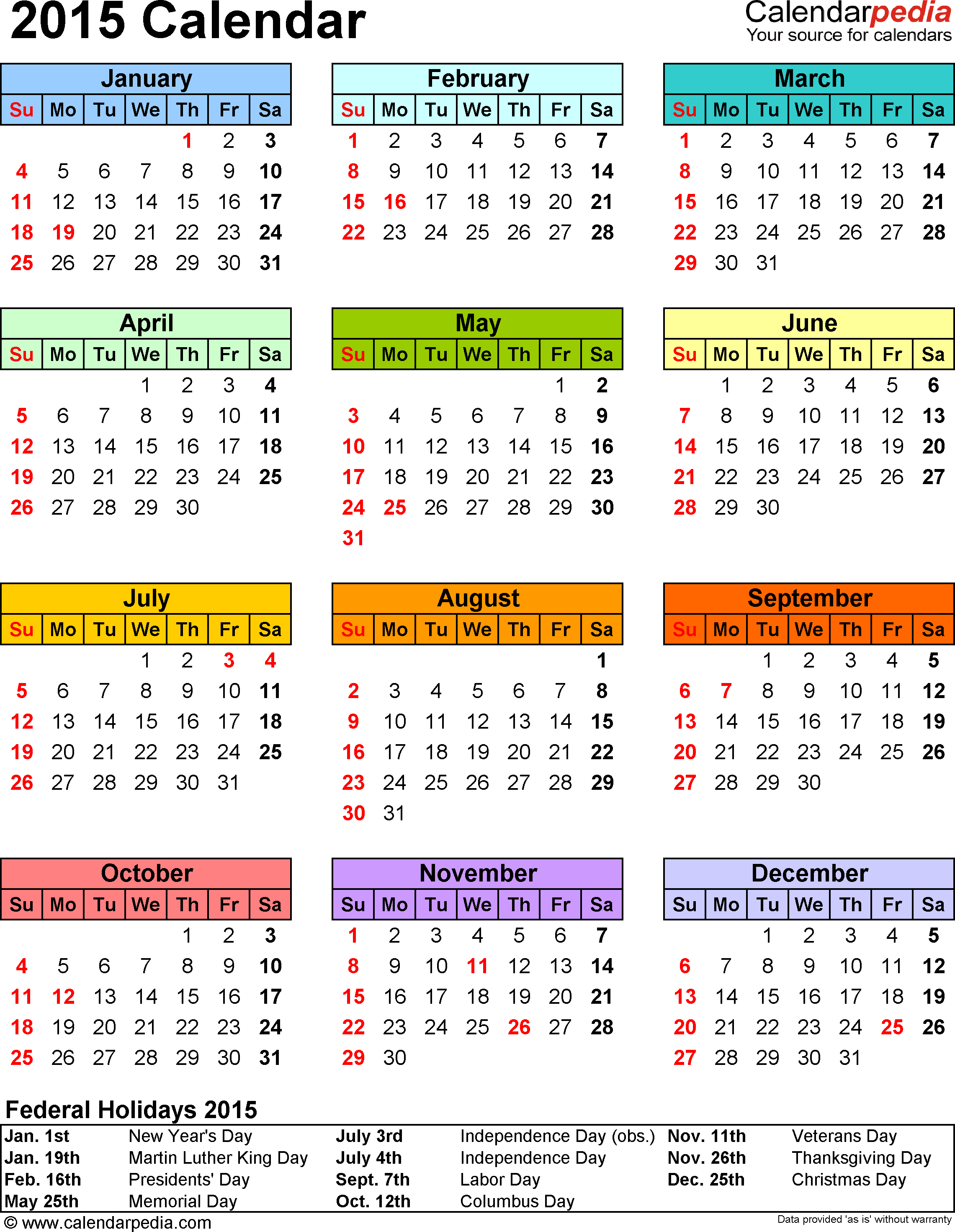 Template 13: 2015 Calendar For Pdf,1 Page, Portrait Orientation, In pertaining to Editable 2015 Monthly Calendar Template