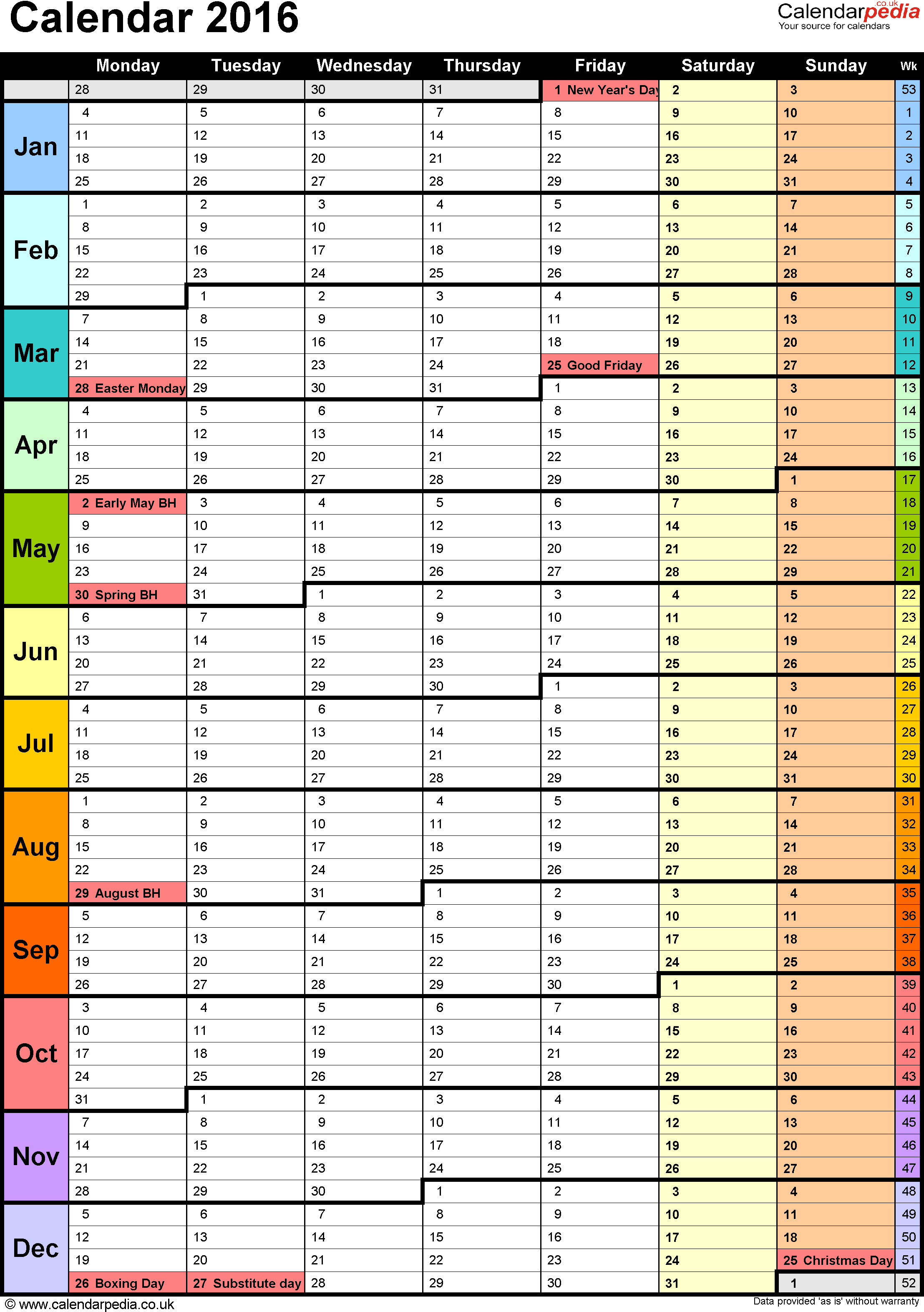 Template 15: Yearly Calendar 2016 As Pdf Template, Portrait within Holiday Chart Templates Uk