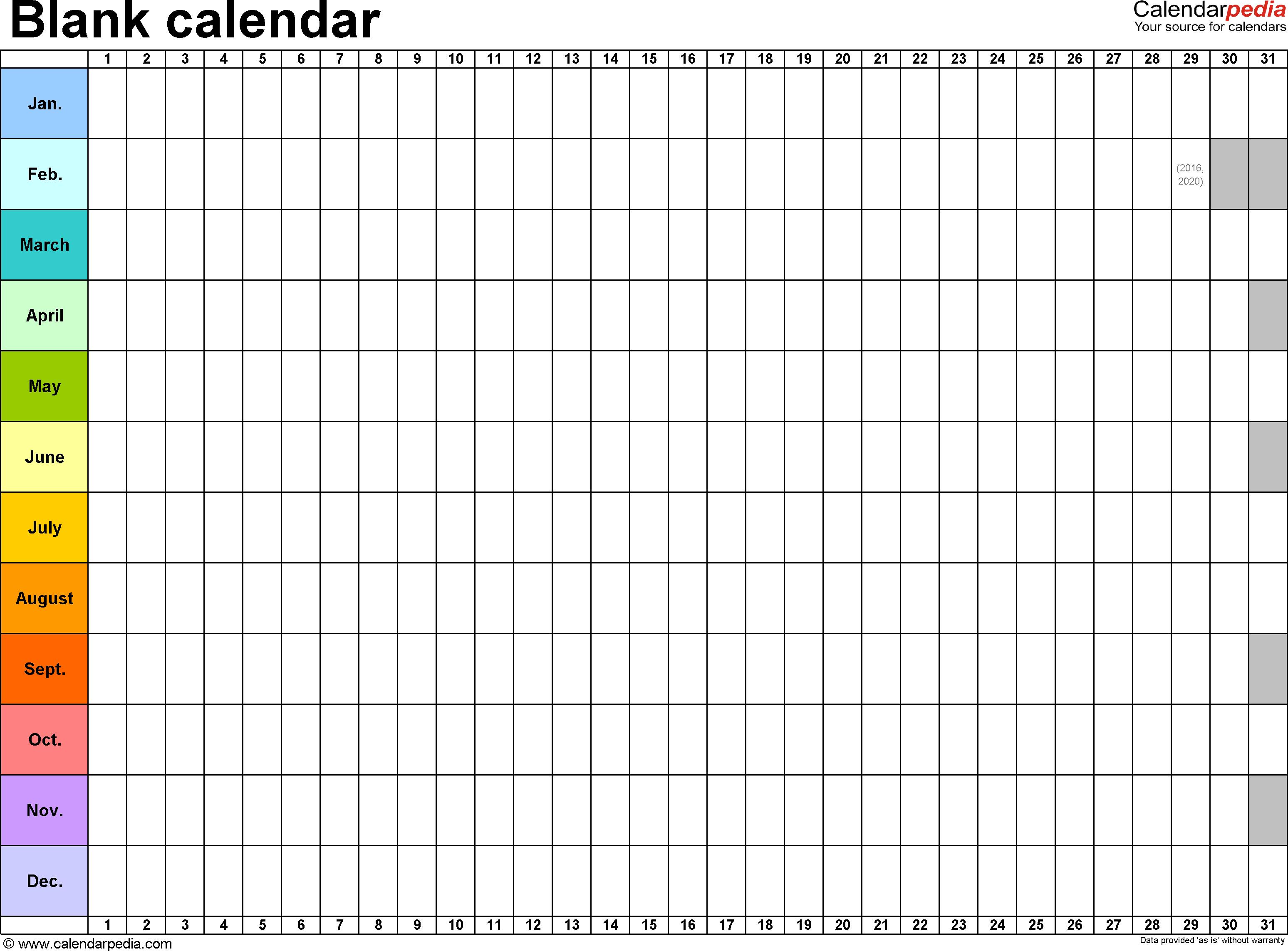 Template 2: Excel Template For Blank Calendar (Landscape Orientation in 12 Week Blank Calendar Printable