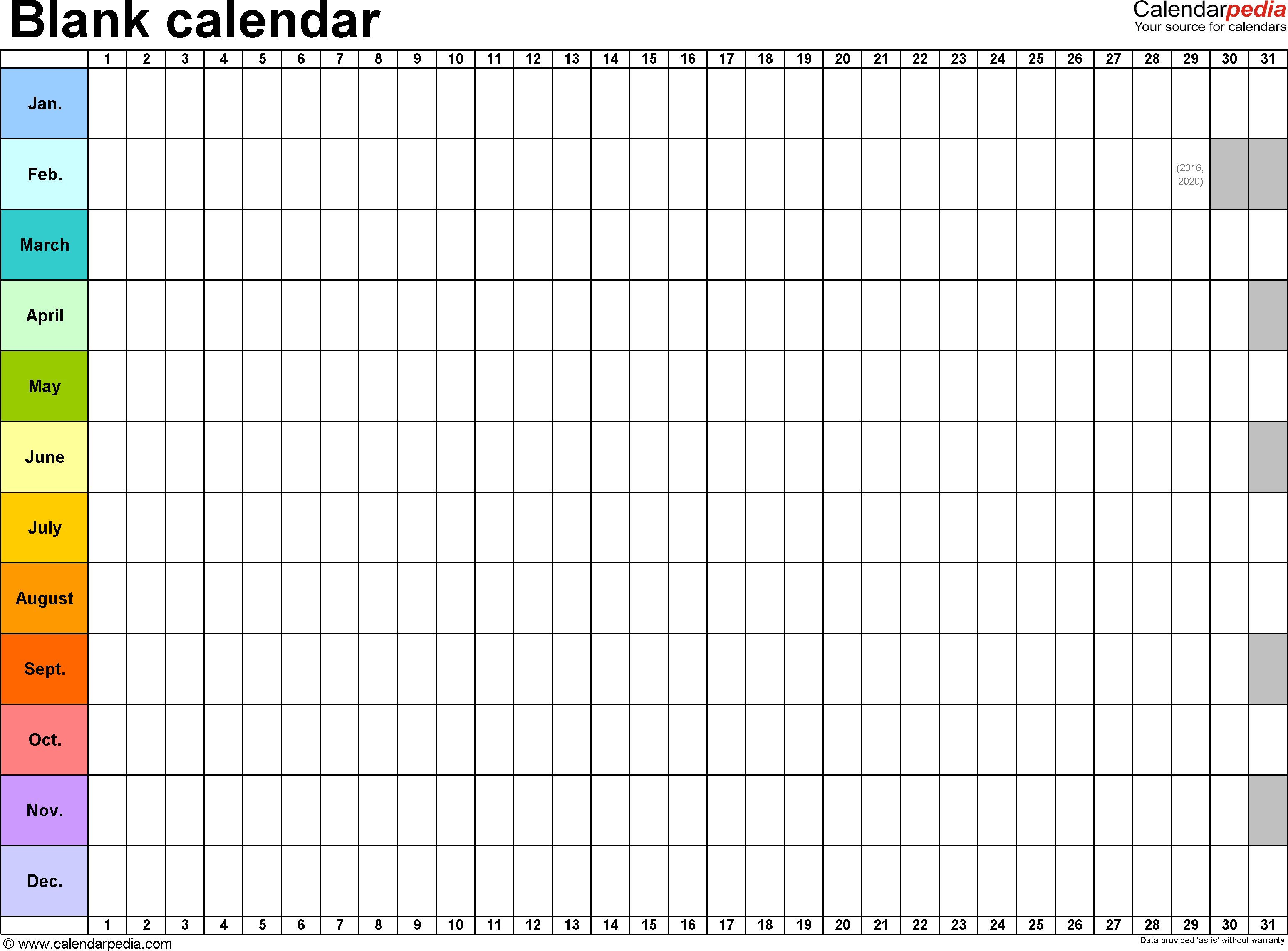 Template 2: Excel Template For Blank Calendar (Landscape Orientation intended for Printable Blank 12 Week Calendar Template