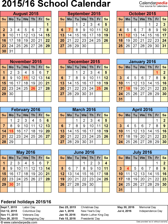 Template 6: School Calendar 2015/16 For Word, Portrait Orientation pertaining to Academic Calendar Template