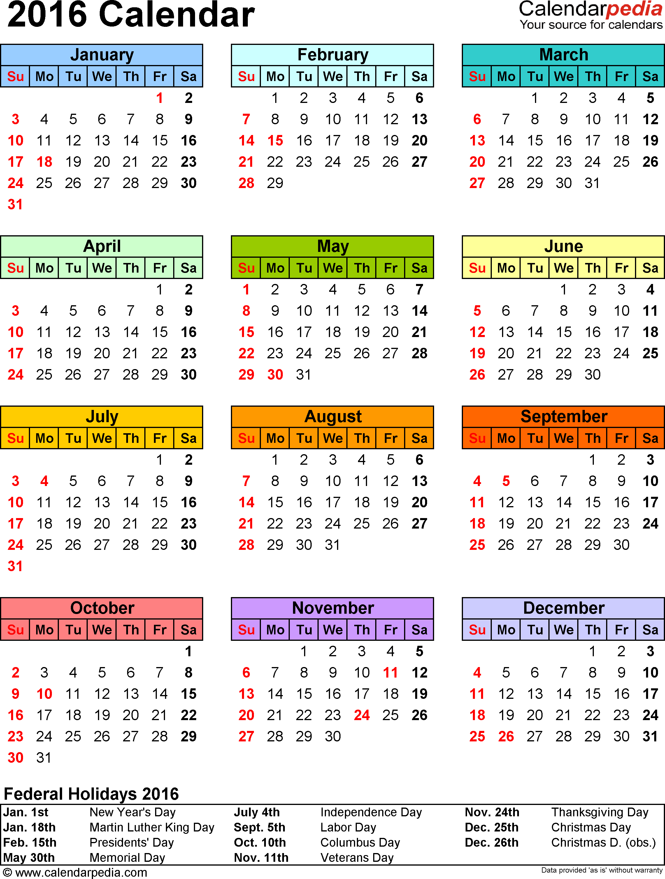 Template 9: 2016 Calendar For Excel, Year At A Glance, 1 Page, In inside Calendar Template Year At A Glance