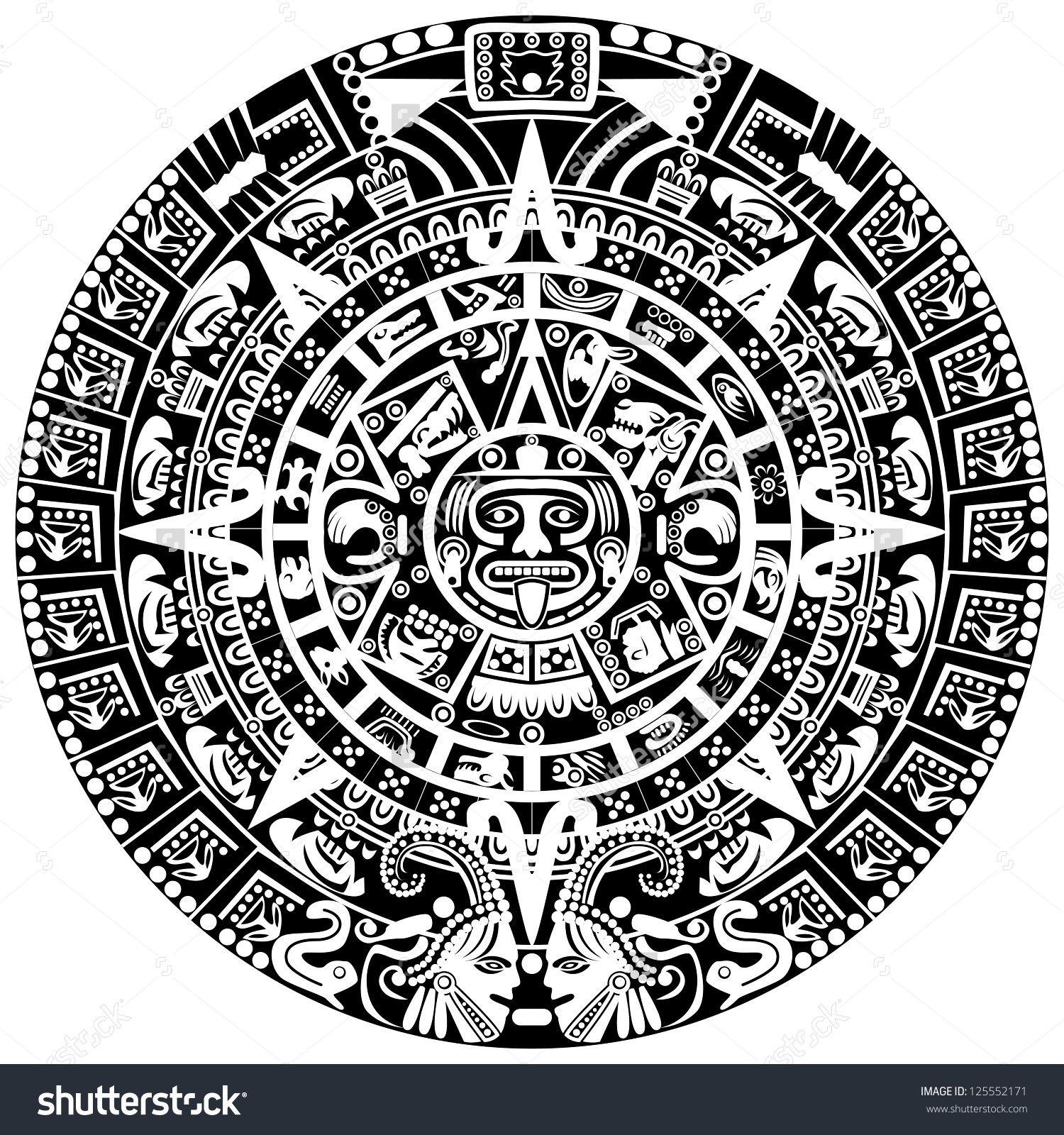 Template Tribal Aztec Calendar Skull Background Printed For No Cost inside Aztec Calendar Printable Template