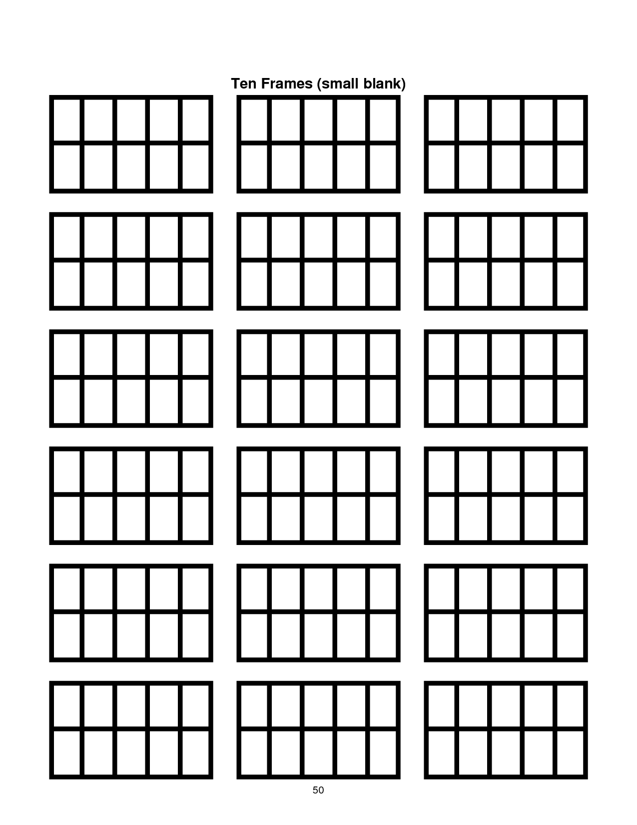 Ten Frame Template Printable | Document Sample | Classroom Ideas within Number Ten Template For First Grade