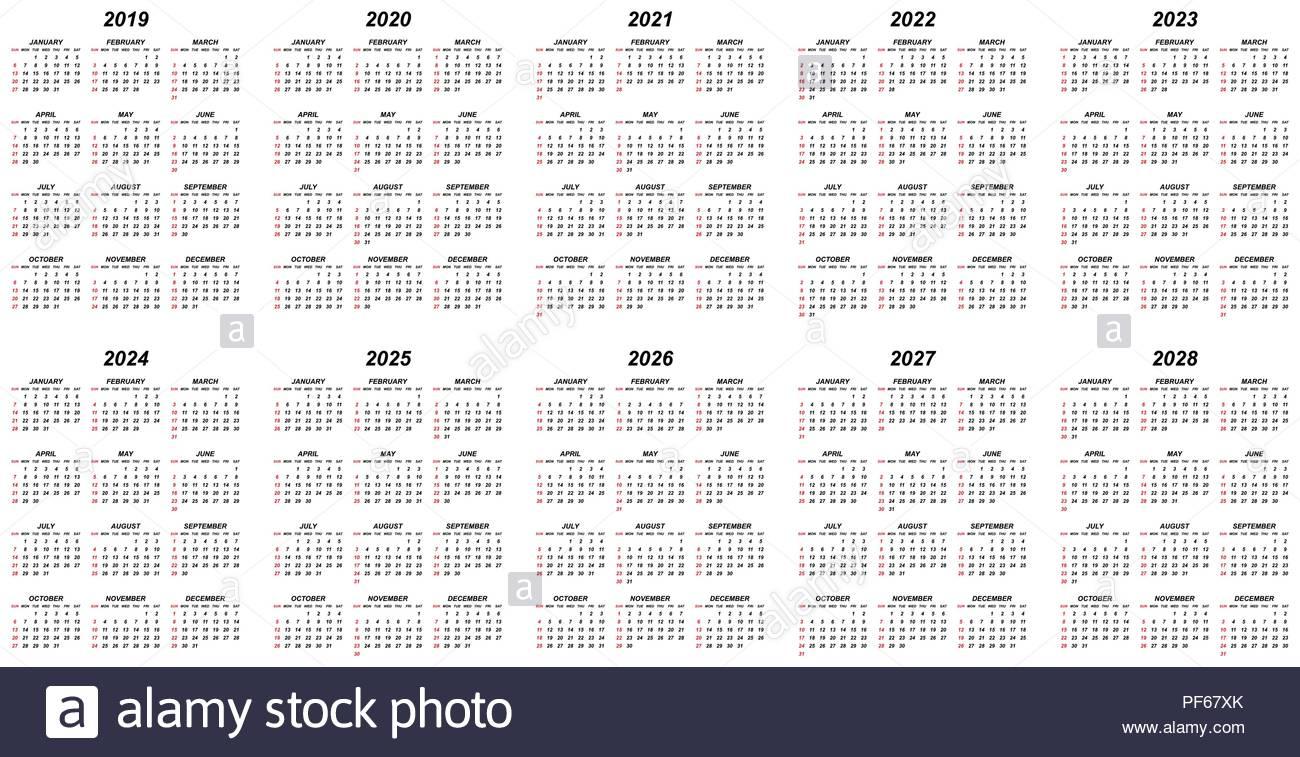 Ten Years Simple Editable Vector Calendars For Year 2019 2020 2021 regarding Year Calendar 2019 2020 Editable