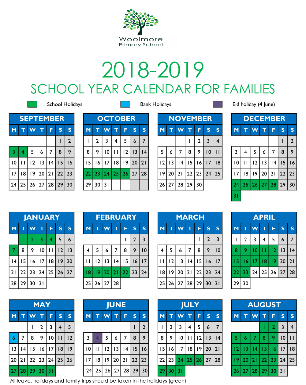 Term Dates 2018-19 | Woolmore Primary School pertaining to Pshe Special Days Calender 2020