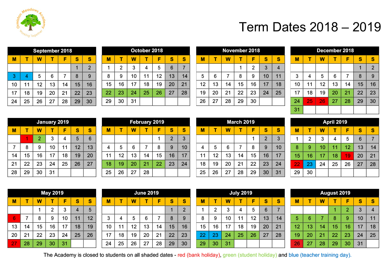 Term Dates And Timetable - Ormiston Meadows Academy for Pshe Special Days Calender 2020