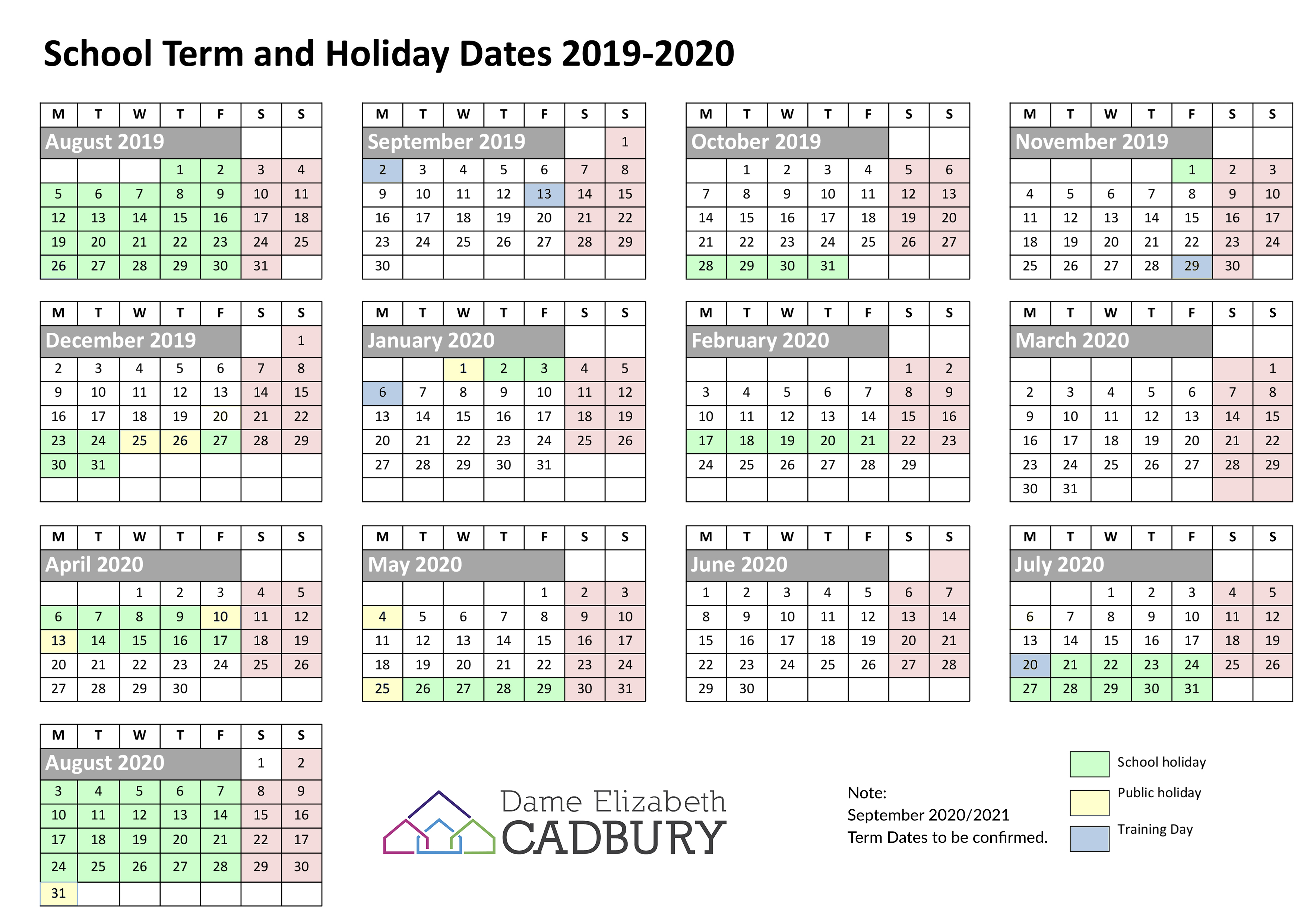 Term Dates – Dame Elizabeth Cadbury School pertaining to Pshe Special Days Calender 2020