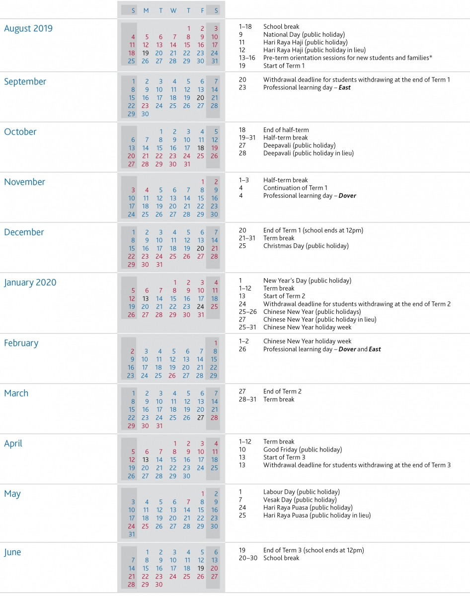 Term Dates | Uwcsea | International School In Singapore pertaining to Special Days Of The Year 2020
