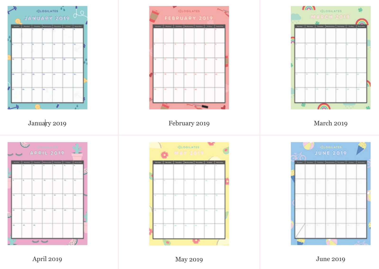 The Legit Cutest 2019 Printable Calendars! – Blogilates for Cute Yearly Calendar Template