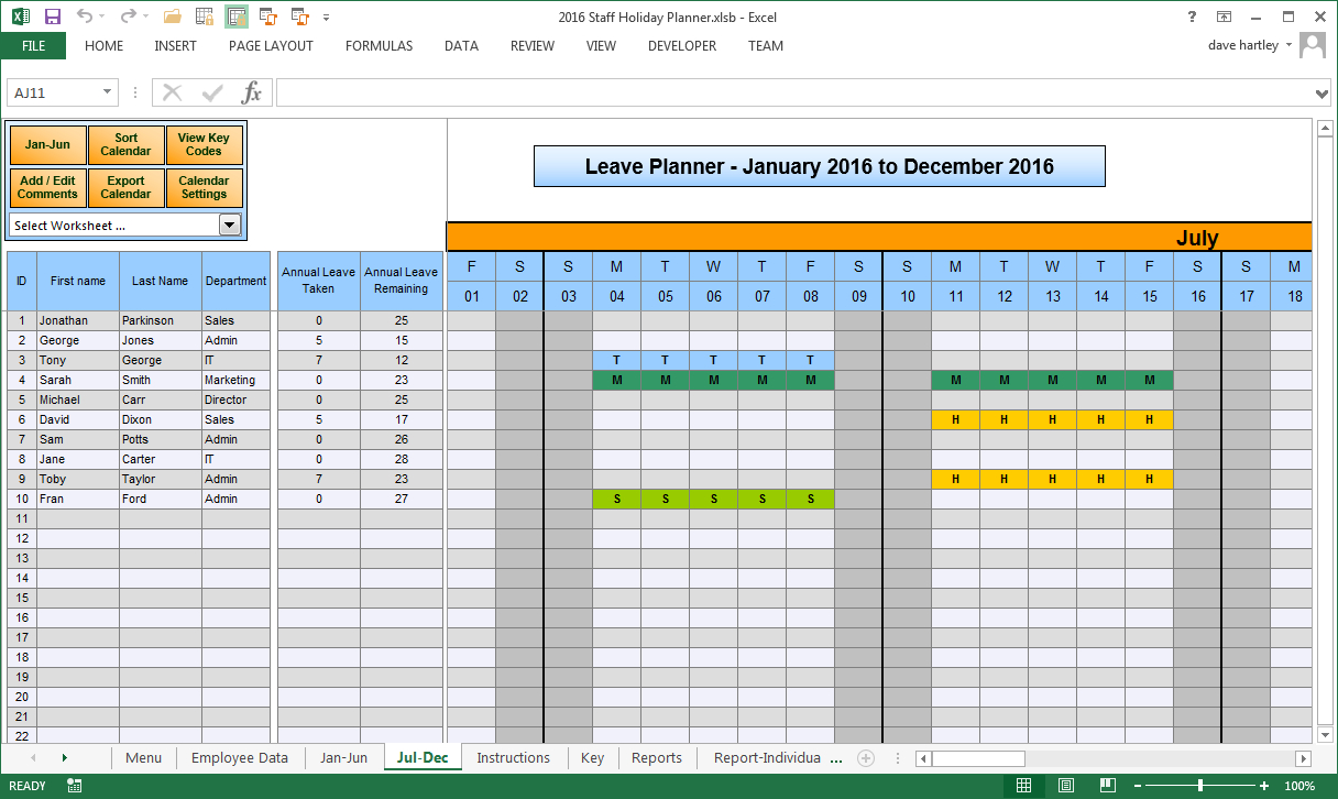 The Staff Leave Calendar Simple El Planner To Manage Team Schedule for Calendar Template Excel Vacations