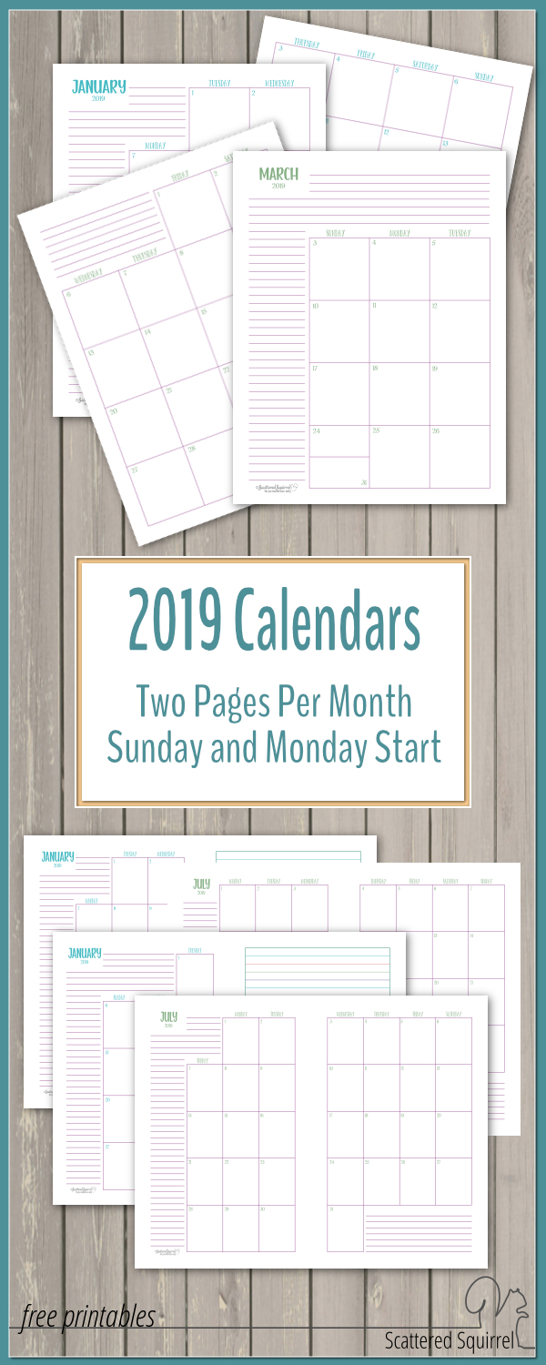 The Two Pages Per Month 2019 Calendars Are Ready! - Scattered Squirrel in Monthly Printable Calendars 2020 Half Page