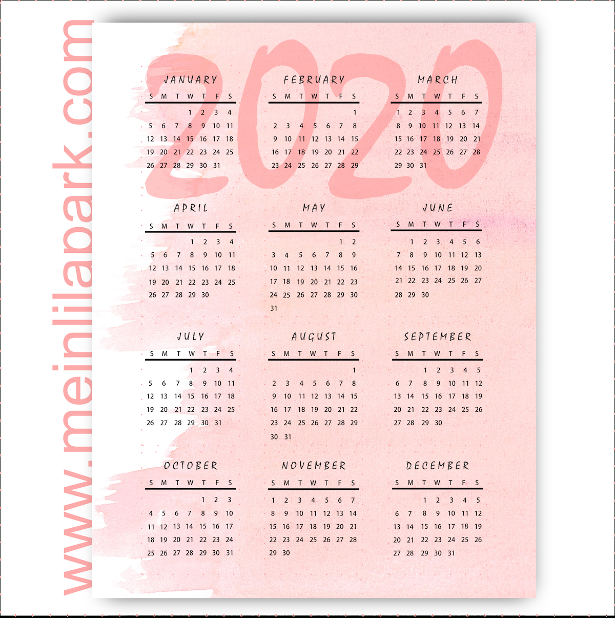 Thinking Ahead: Printable 2020 Calendar In Pink Marshmallow Design pertaining to 2020 Printable Calendar With Sunday And Saturday Pink Color