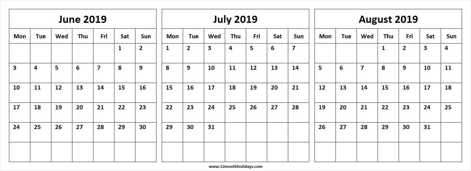 Three Month Calendar June July August 2019 | Editable Template 2019 with Blank Calendar June July August