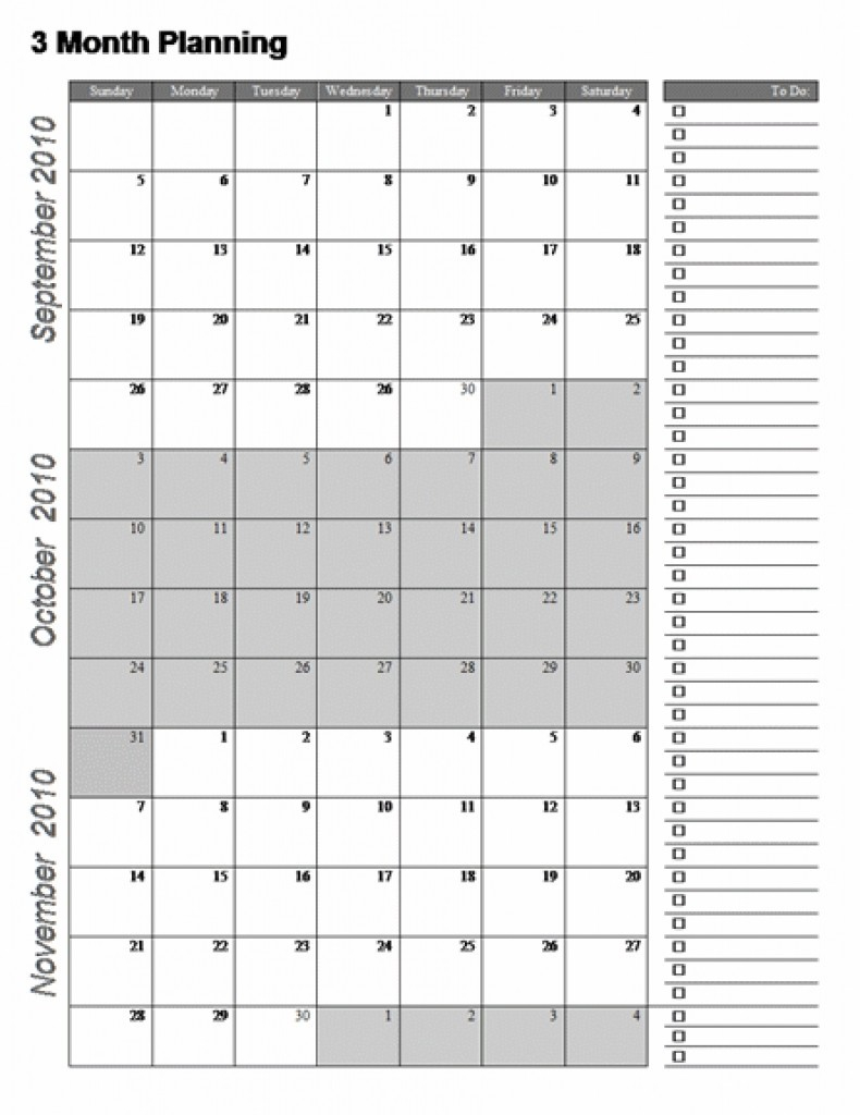 Three Month Calendar Template Great Printable Calendars Gallery intended for Printable Blank 3 Month Calendar
