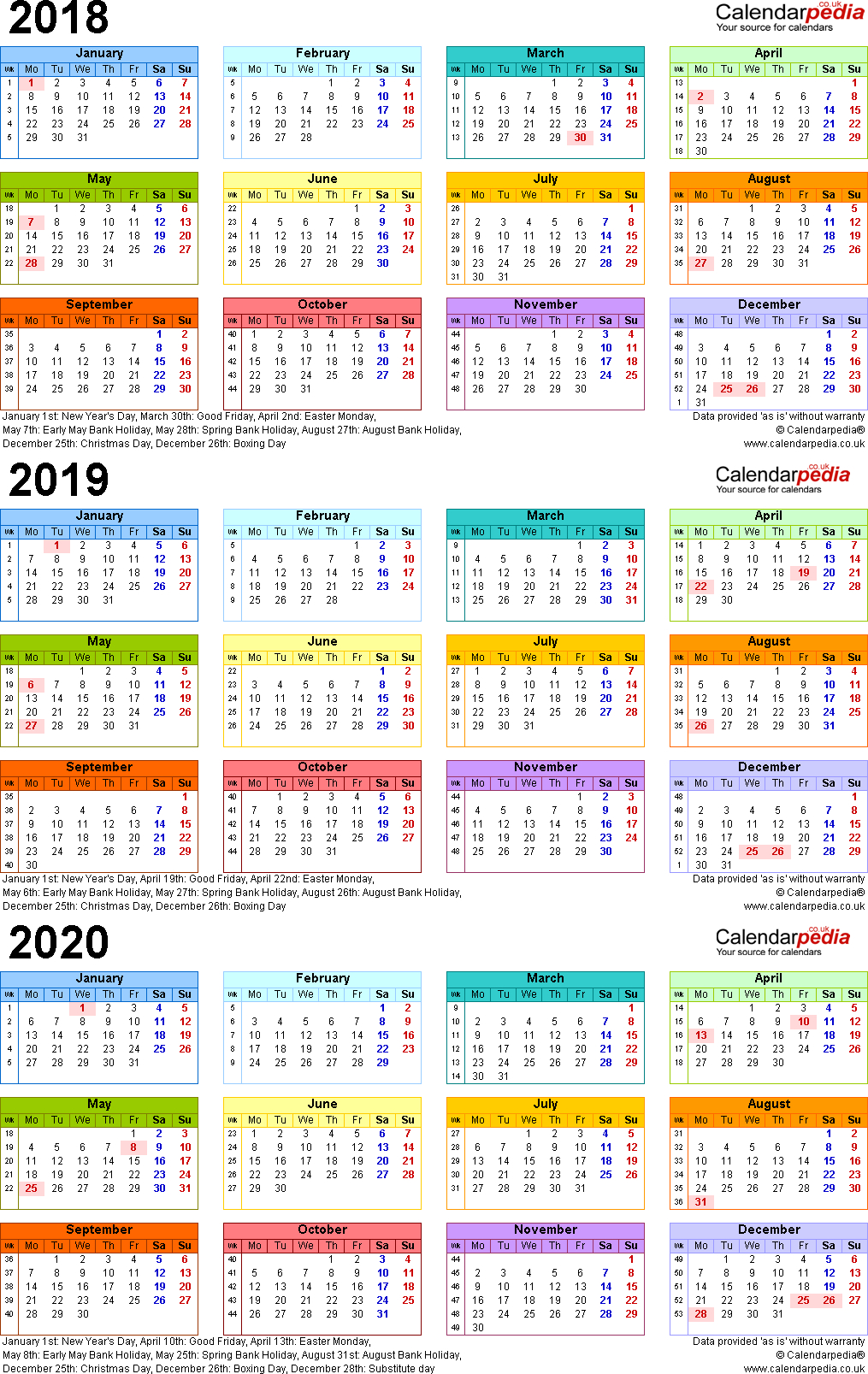 Three Year Calendars For 2018, 2019 & 2020 (Uk) For Pdf for 3 Year Calendar Printable 2018 2019 2020