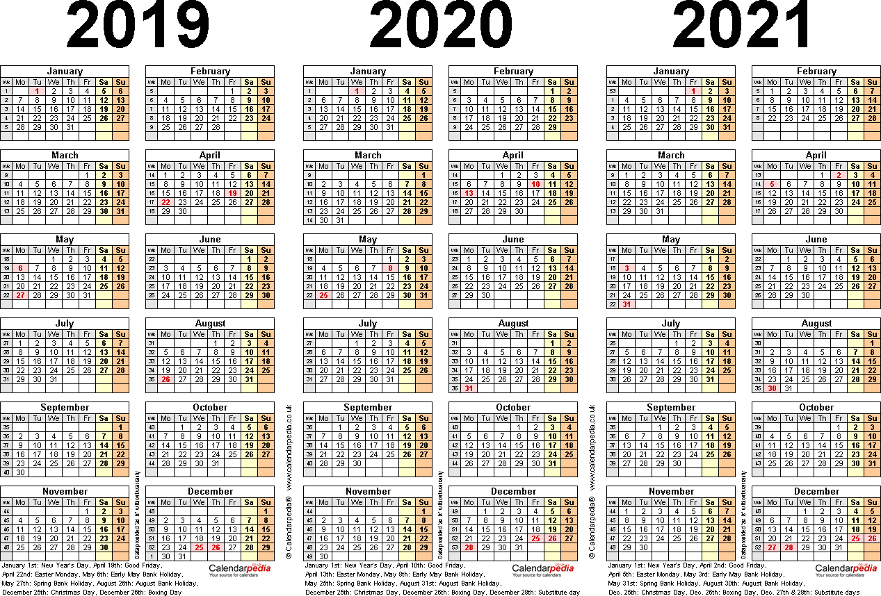 Three Year Calendars For 2019, 2020 & 2021 (Uk) For Word intended for Free Printable 3 Year Calendar 2019 2020 2021