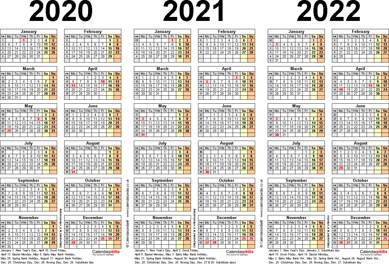 Three Year Calendars For 2020, 2021 & 2022 (Uk) For Excel regarding Three Year Calendar 2020 -2023