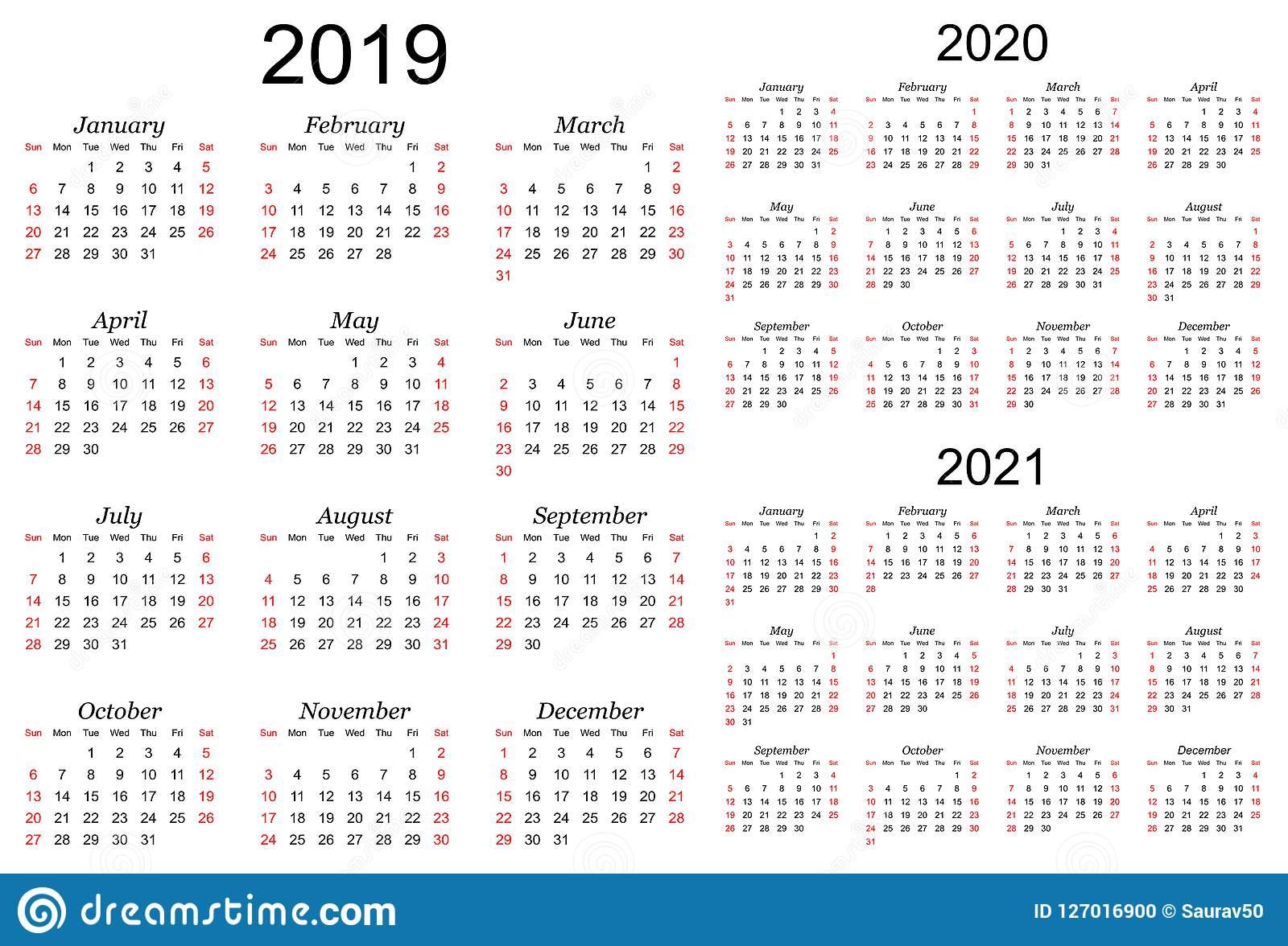 Three Year Vector Calendar - 2019, 2020 And 2021 Stock Vector inside Three Year Calendar 2020 -2023