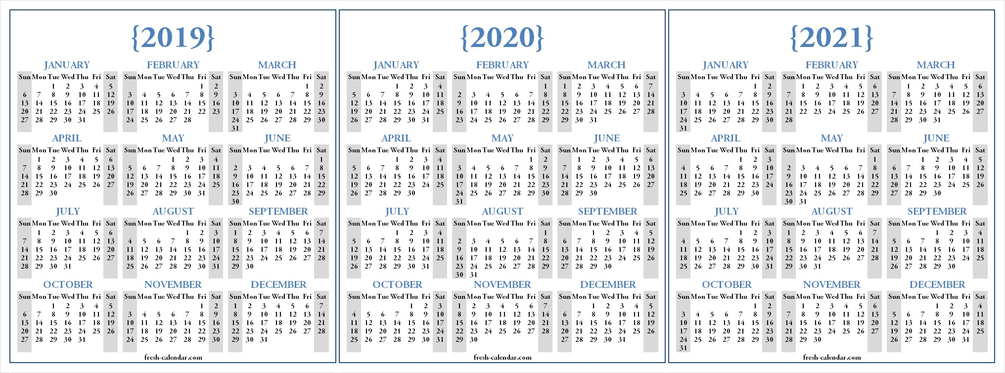 Three Yearly 2019 2020 2021 Calendar Printable Free | Blank Template with Calendar Yearly 2019 2020 2021