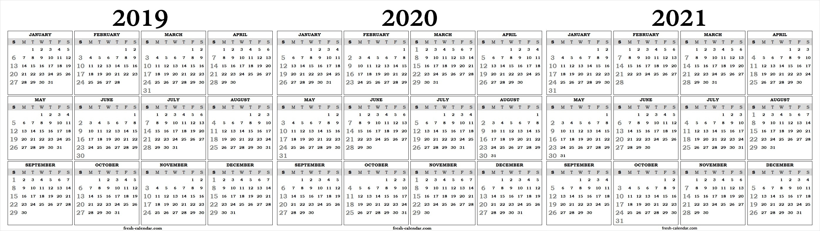 Three Yearly 2019 2020 2021 Calendar Printable Free | Blank Template with regard to Calander Single Page Printable 2019 2020