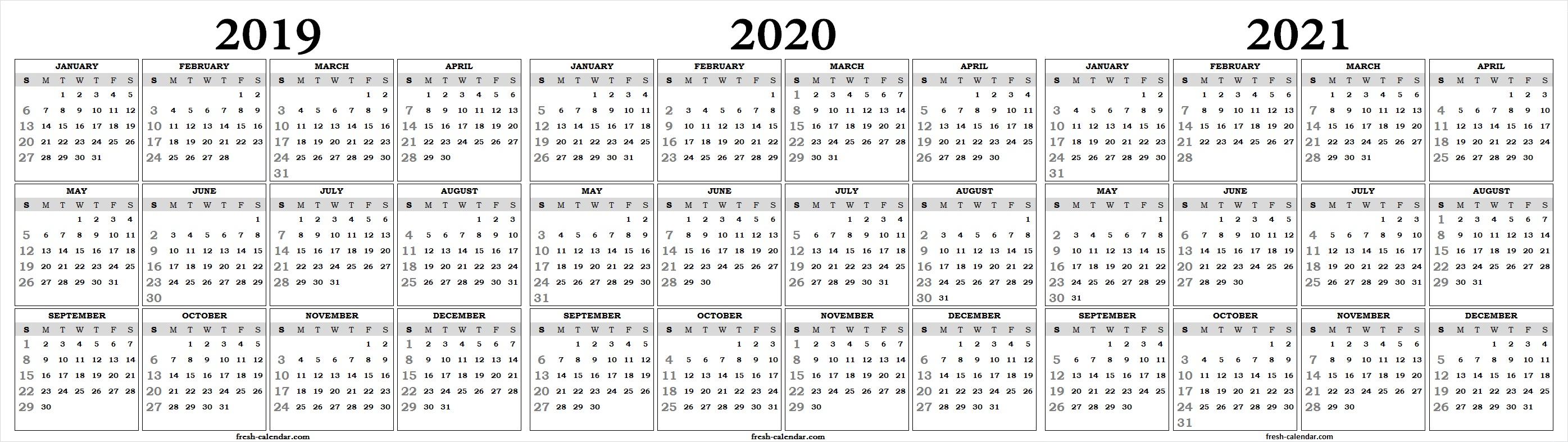 Three Yearly 2019 2020 2021 Calendar Printable Free | Blank Template within Calendar Yearly 2019 2020 2021
