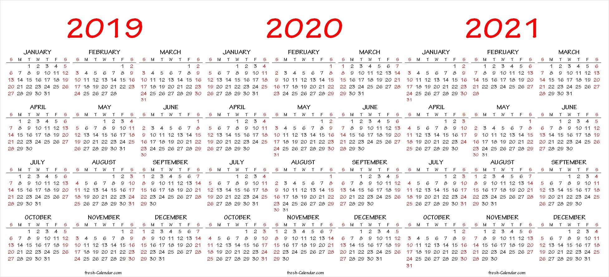Three Yearly Calendar 2019 2020 2021 Printable Free | Blank Template throughout Free Printaabke Calendars For 2019-2020