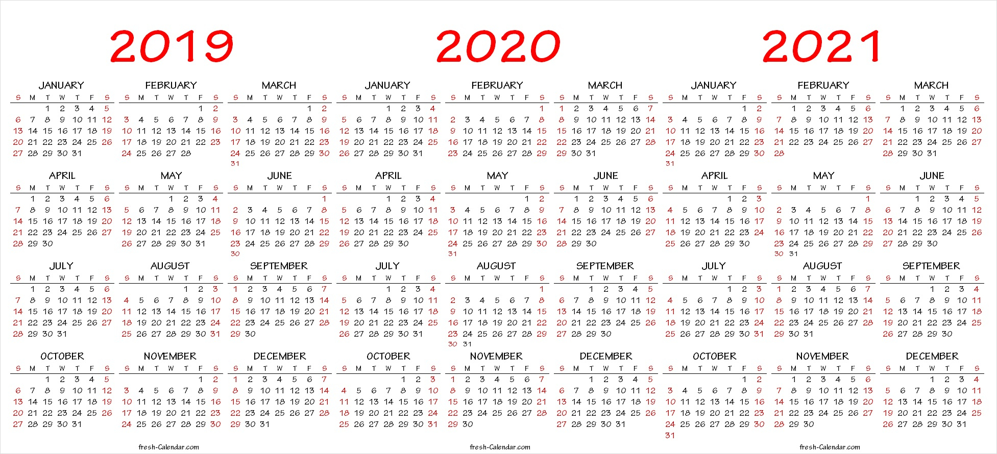 Three Yearly Calendar 2019 2020 2021 Printable Free | Blank Template within 2019-2020 Yearly Calendar Word Document